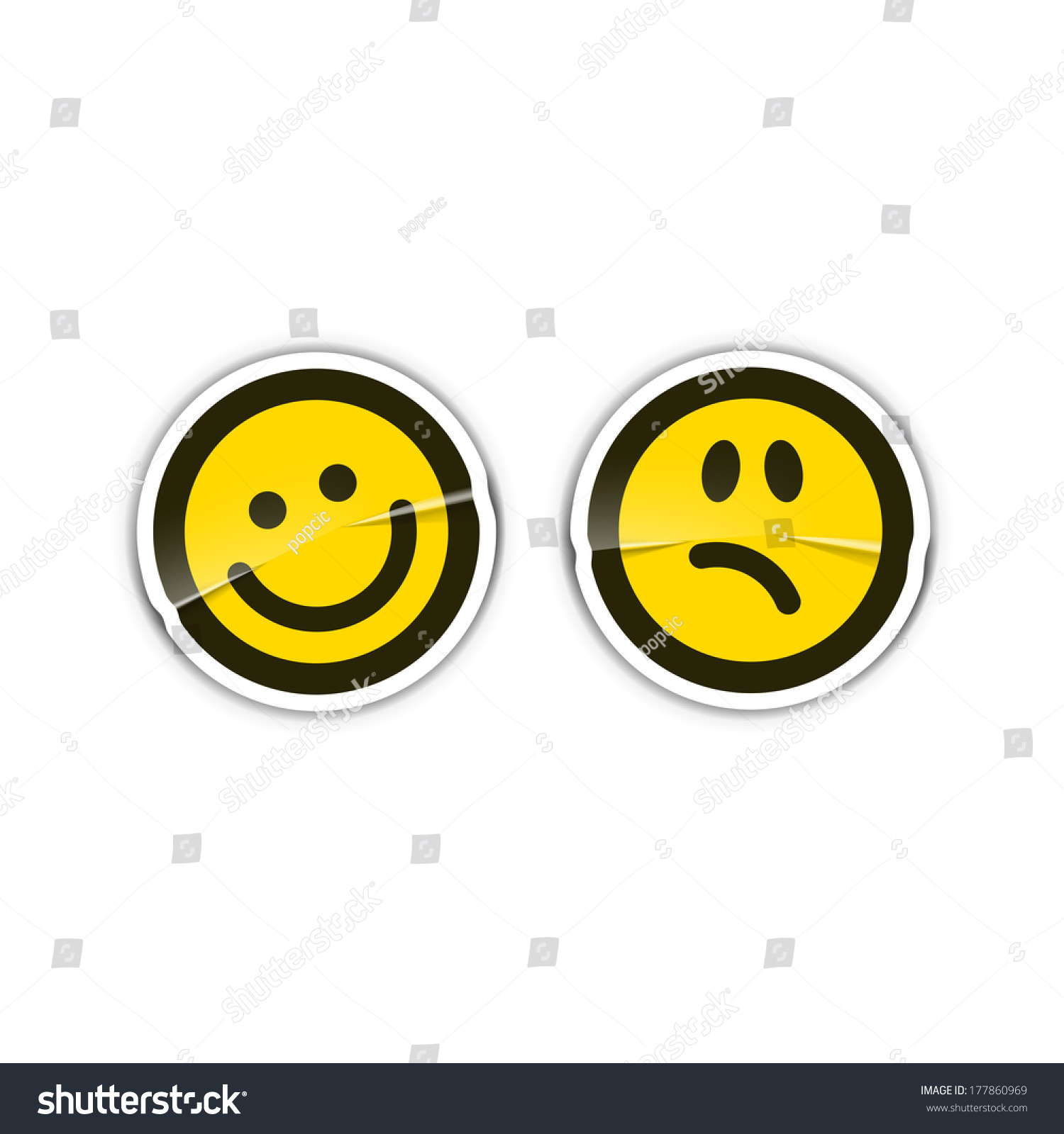 Happy Sad Emotion Stickers Stock Vector (2018) 177860969 - Shutterstock for Sad Stickers For Facebook Chat  51ane
