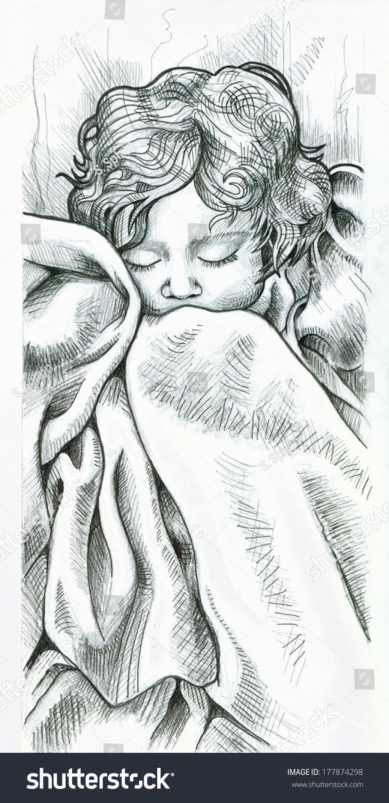 Peaceful baby sleeping pencil drawing
