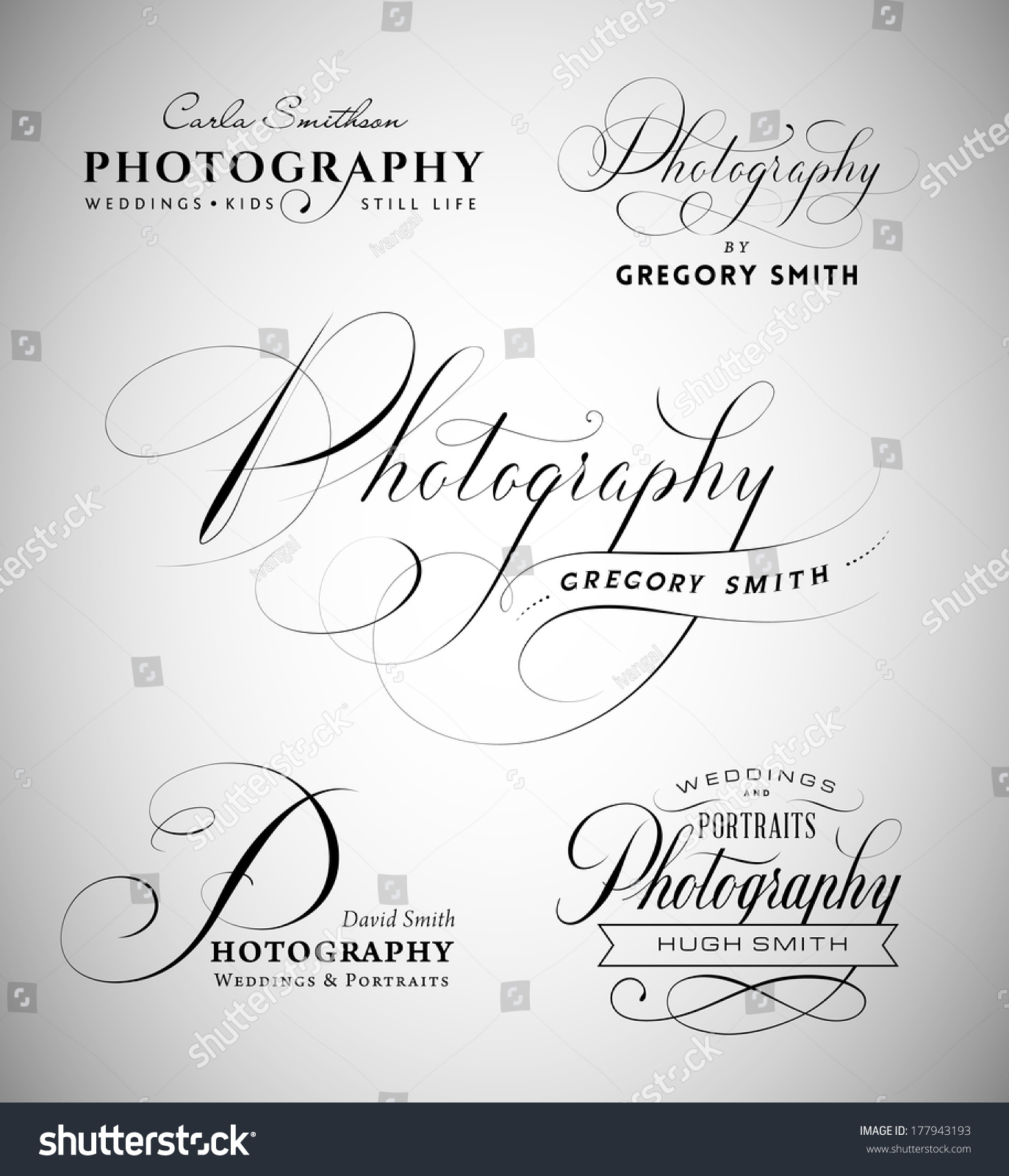 Vintage labels word photography written calligraphic stock