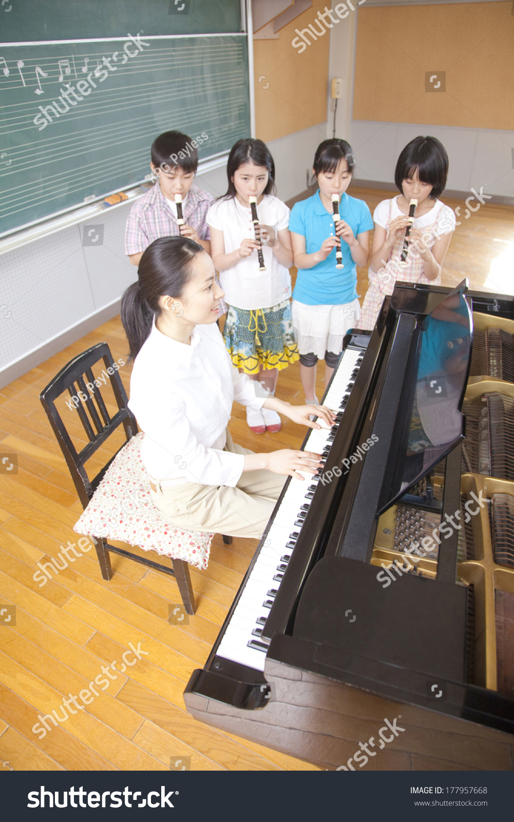 Four Japanese Students Playing Recorder Music Stock Photo Edit Now Room The In