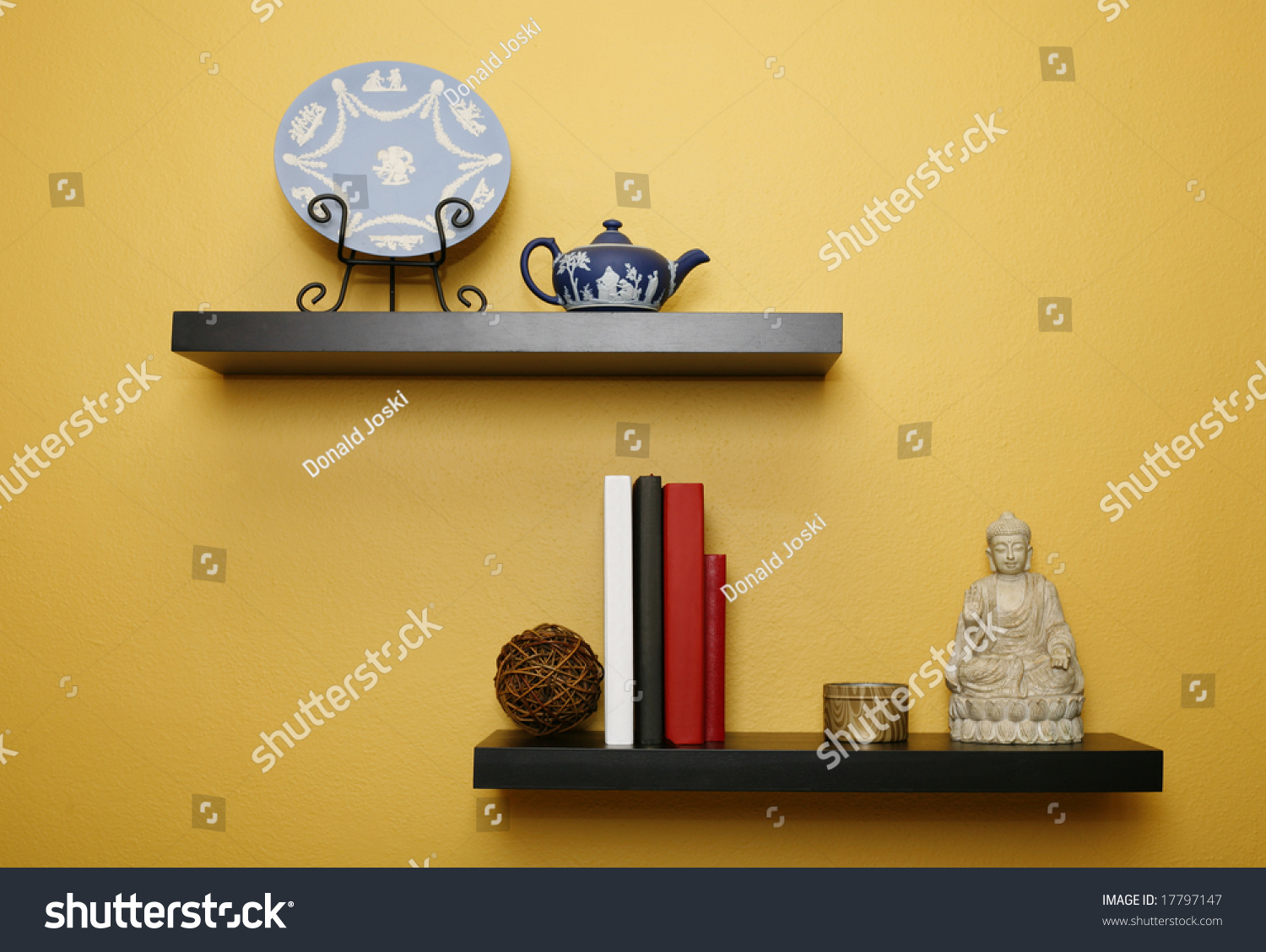 Living Room Wall Shelves Stock Photo 17797147 - Shutterstock