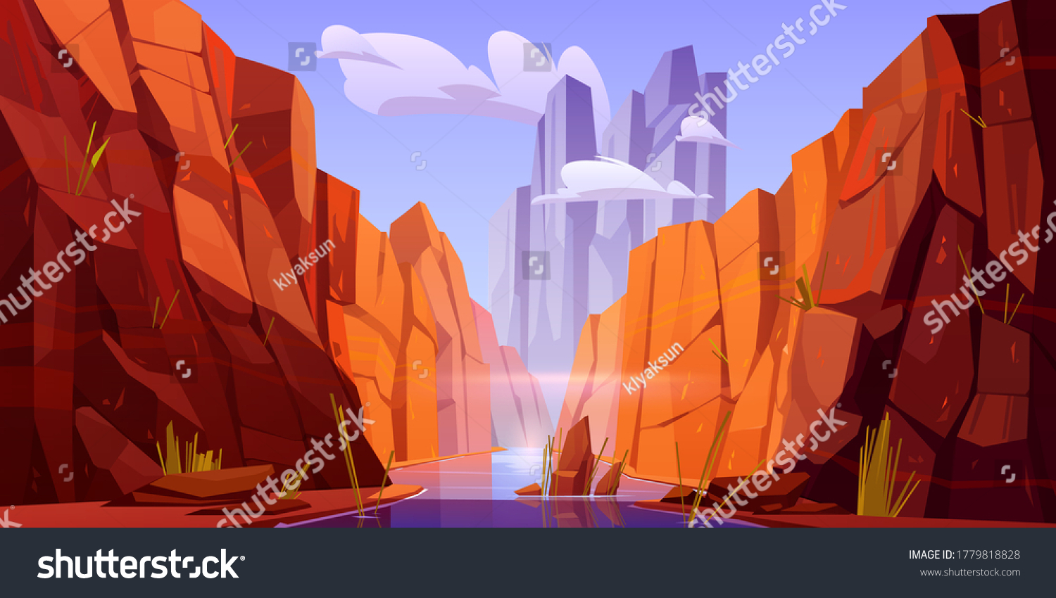Grand Canyon with river on bottom, national park of Arizona state on Colorado stream. Red sandstone mountains, horizon with sand rocks and sky, nature landscape background, Cartoon vector illustration #1779818828