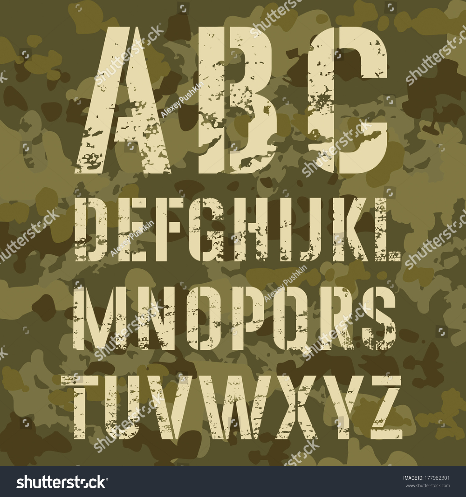 Military stencil alphabet on camouflage background stock vector military stencil alphabet on a camouflage background vector illustration amipublicfo Choice Image
