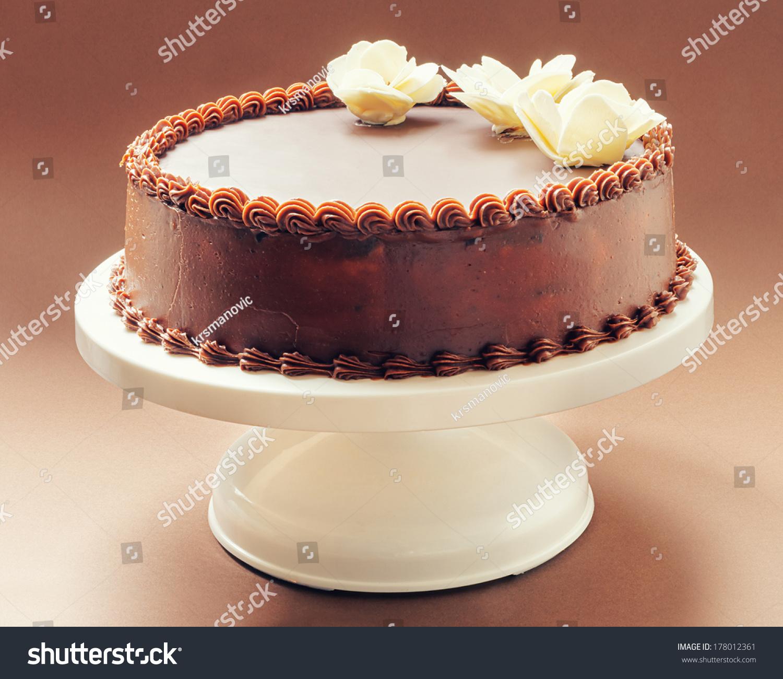 All Chocolate Birthday Cake On Brown Stock Photo Edit Now