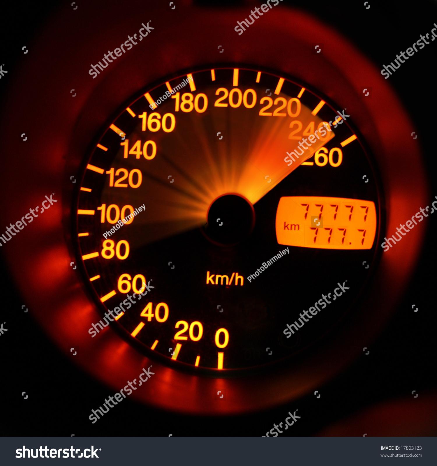 Accelerating Sportcar Speedometer Closeup Stock Photo ...