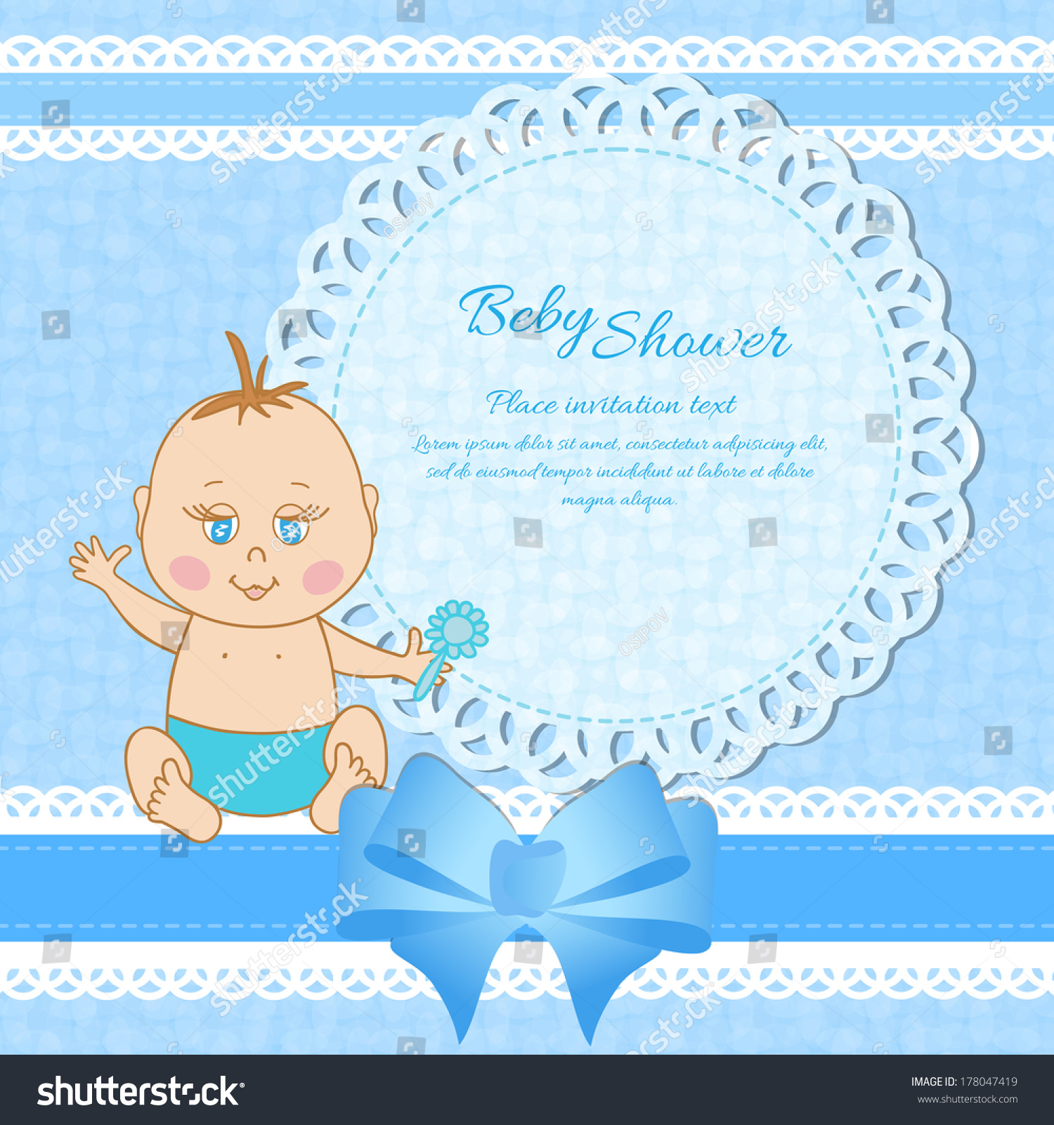 Baby shower greeting card baby boy stock vector 178047419 baby shower greeting card for baby boy kristyandbryce Image collections