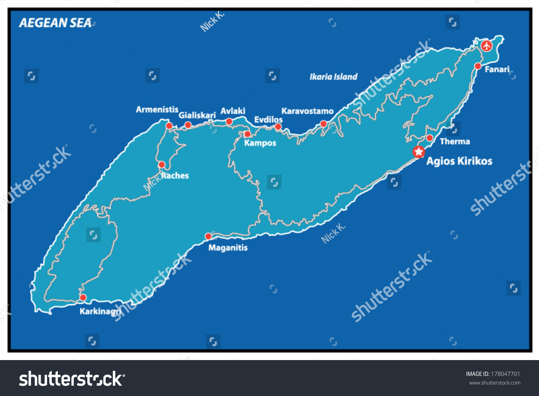 Ikaria Island Vector Map Greece Stock Vector Royalty Free 178047701
