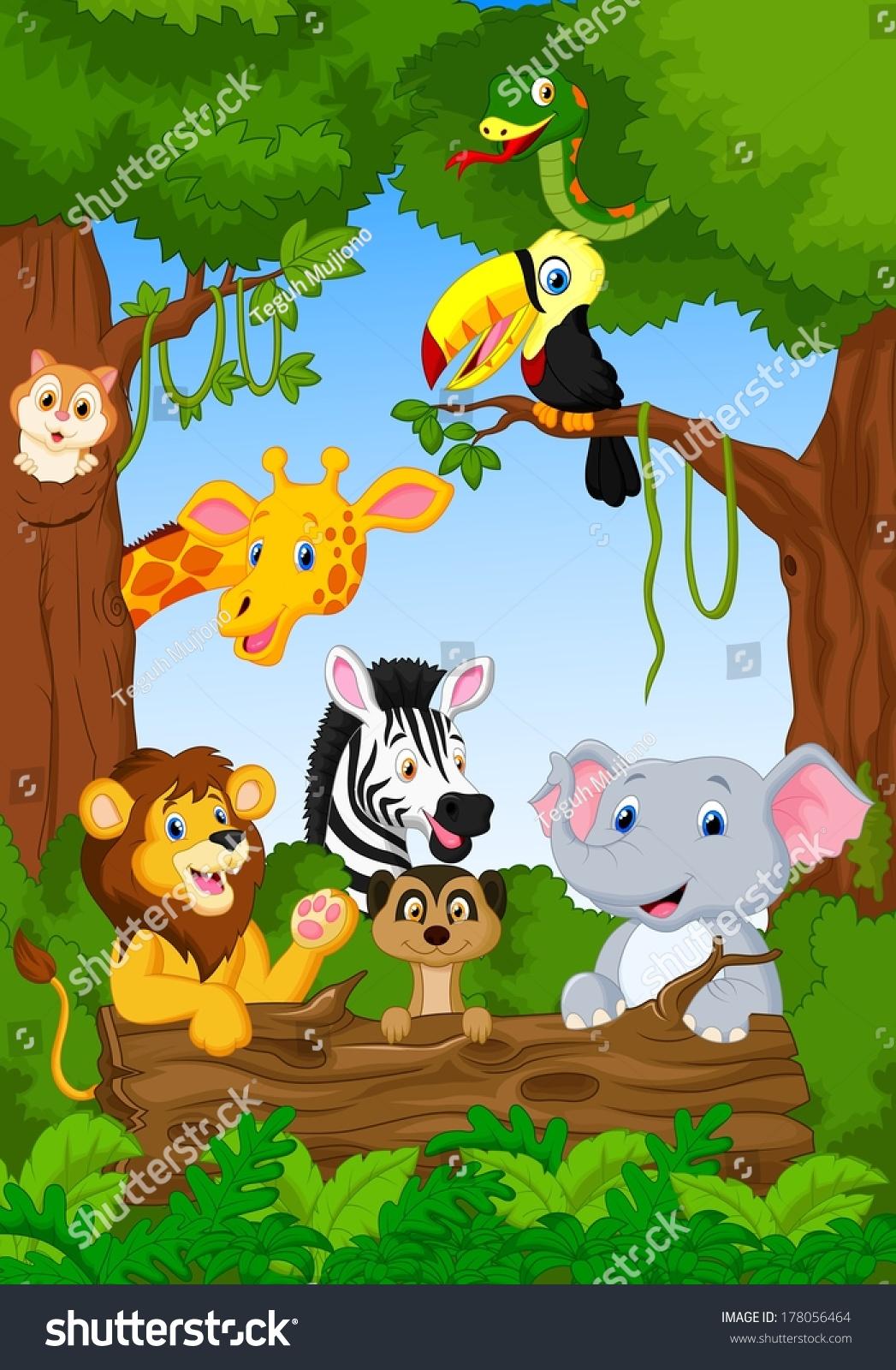Cute Scene Cartoons African Safari Animal Cartoon Characters