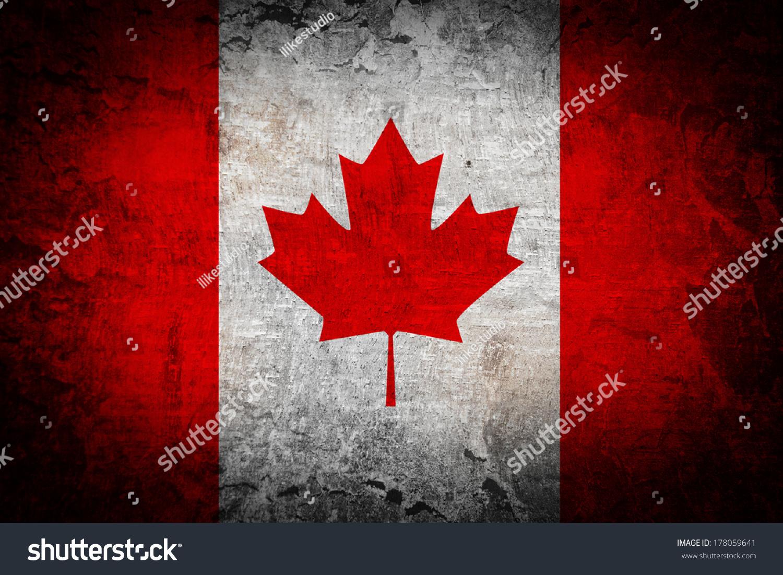 Canada flag on grunge background stock photo 178059641 - Canada flag background ...