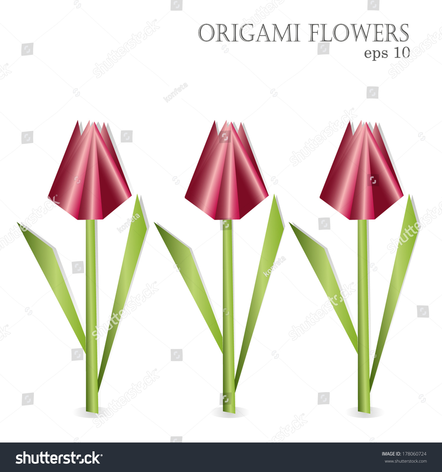 Set Tulips Paper Origami Flowers Vector Stock Vector 178060724