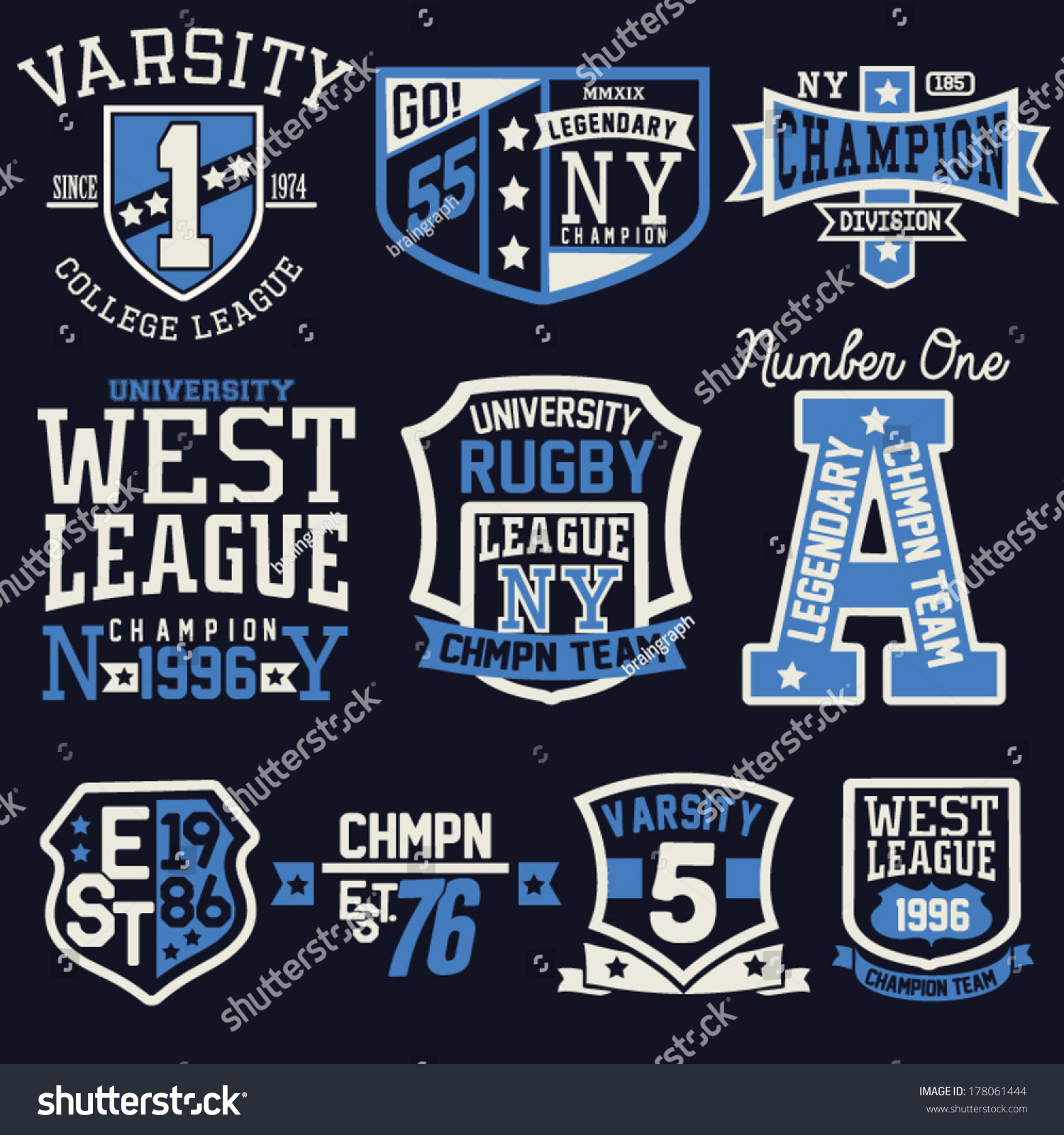 College graphic design tshirt stock vector 178061444 for College football t shirt designs