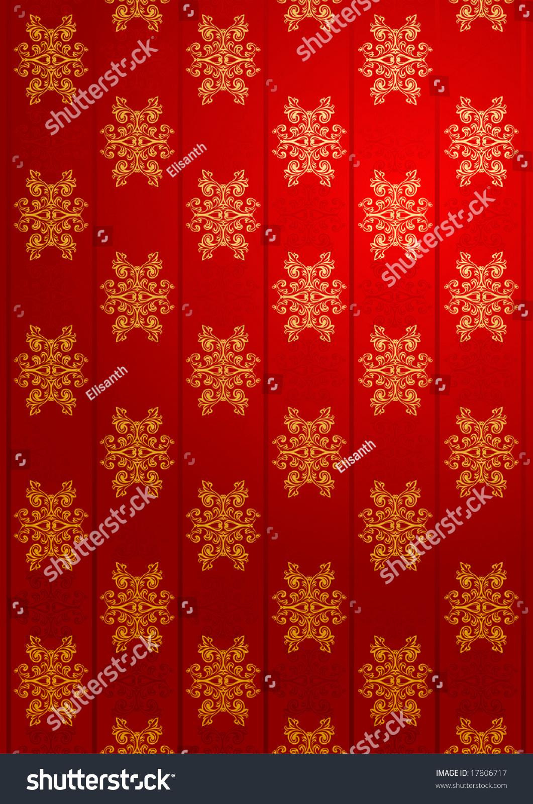 vector red gold glamour wallpaper stock vector 17806717 - shutterstock