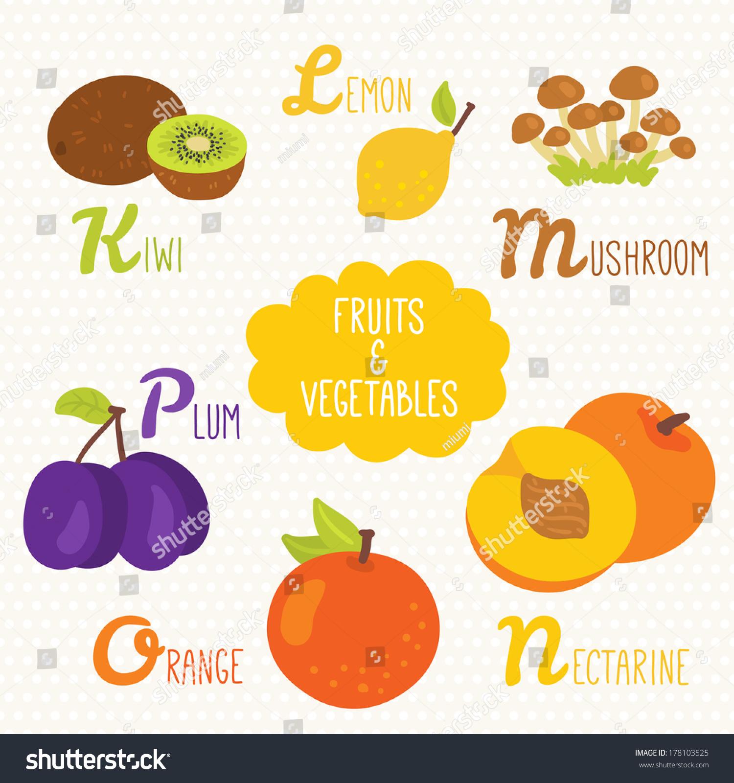 Alphabet Kids Fruits Vegetables Letters K Stock Vector (Royalty