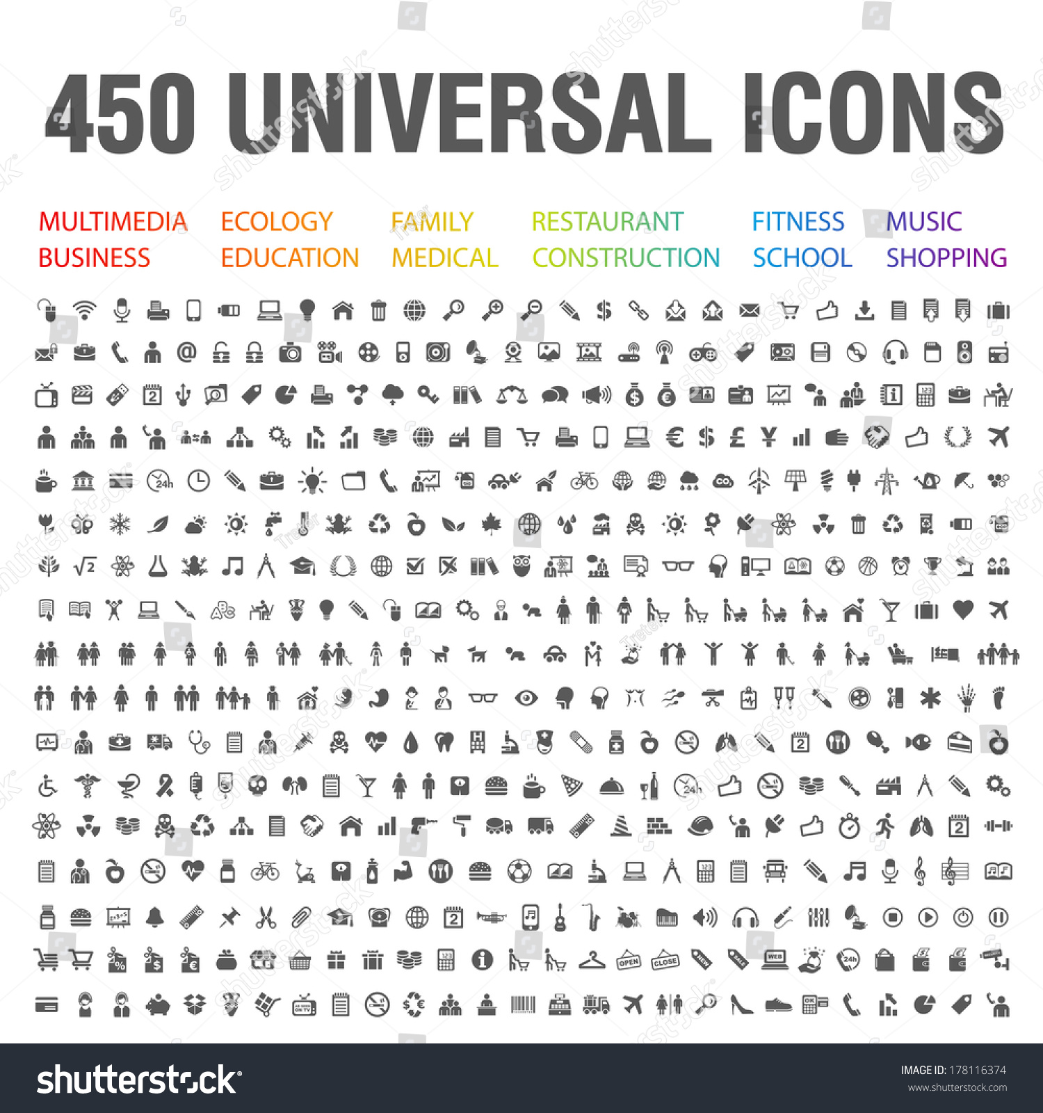 Universal Music Group Stock Quote: 450 Universal Icons Stock Vector 178116374