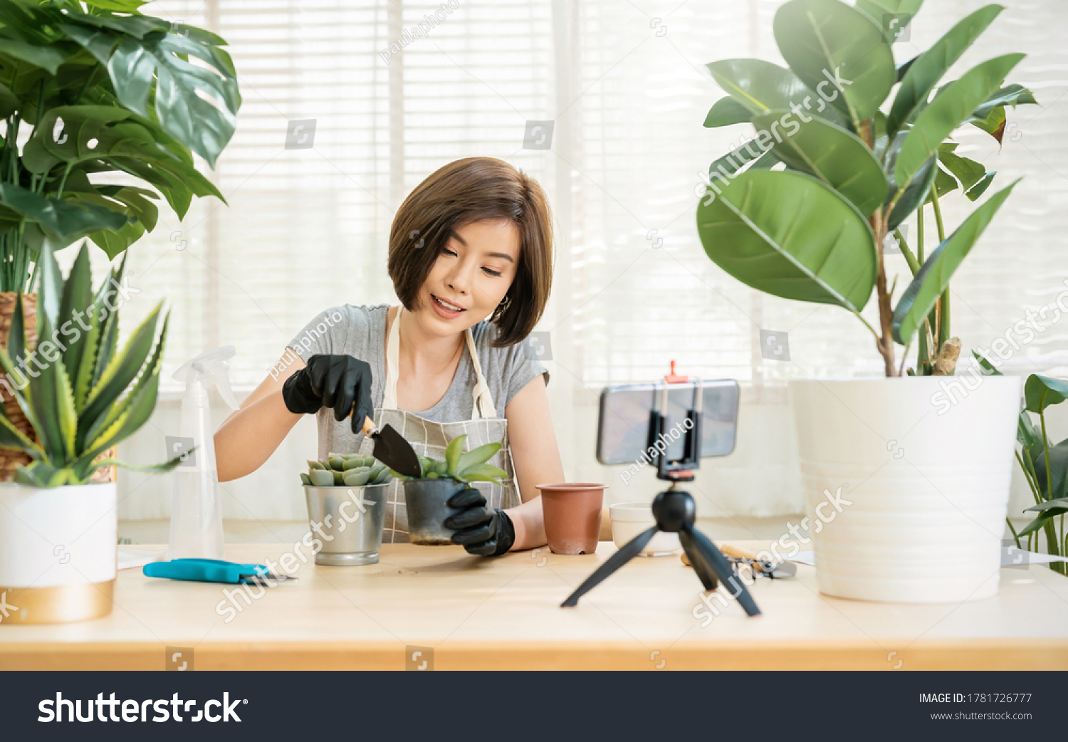 Portrait of young asian woman planting plant pot to fan channel record home video Online influencer girl in social media marketing live blog hobby lockdown coronavirus new normal sme small business #1781726777