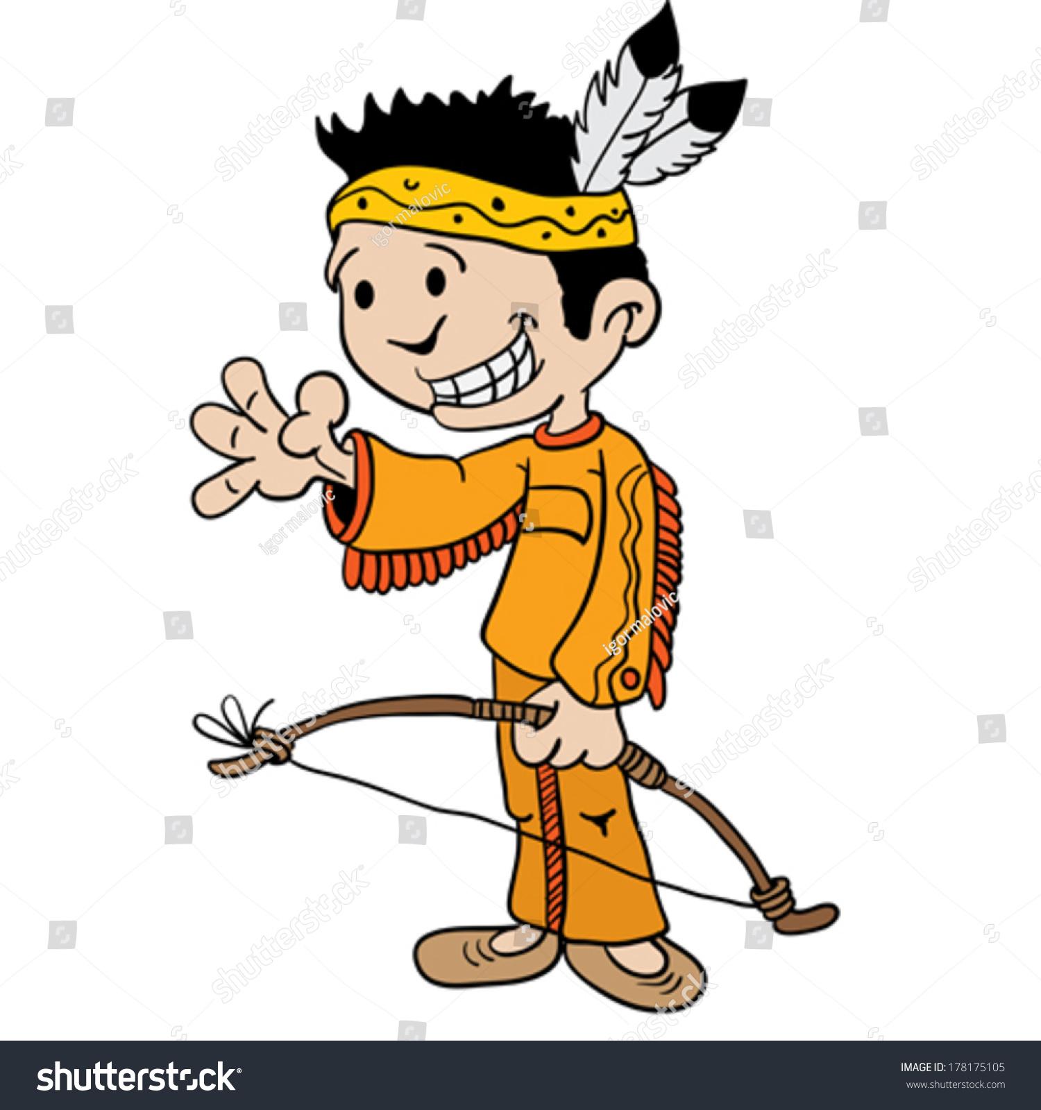 Little Boy Dressed Indian Cartoon Stock Vector 178175105 ...