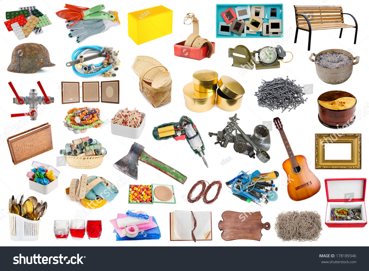 Simple common household objects tools isolated stock photo for Minimalist household items