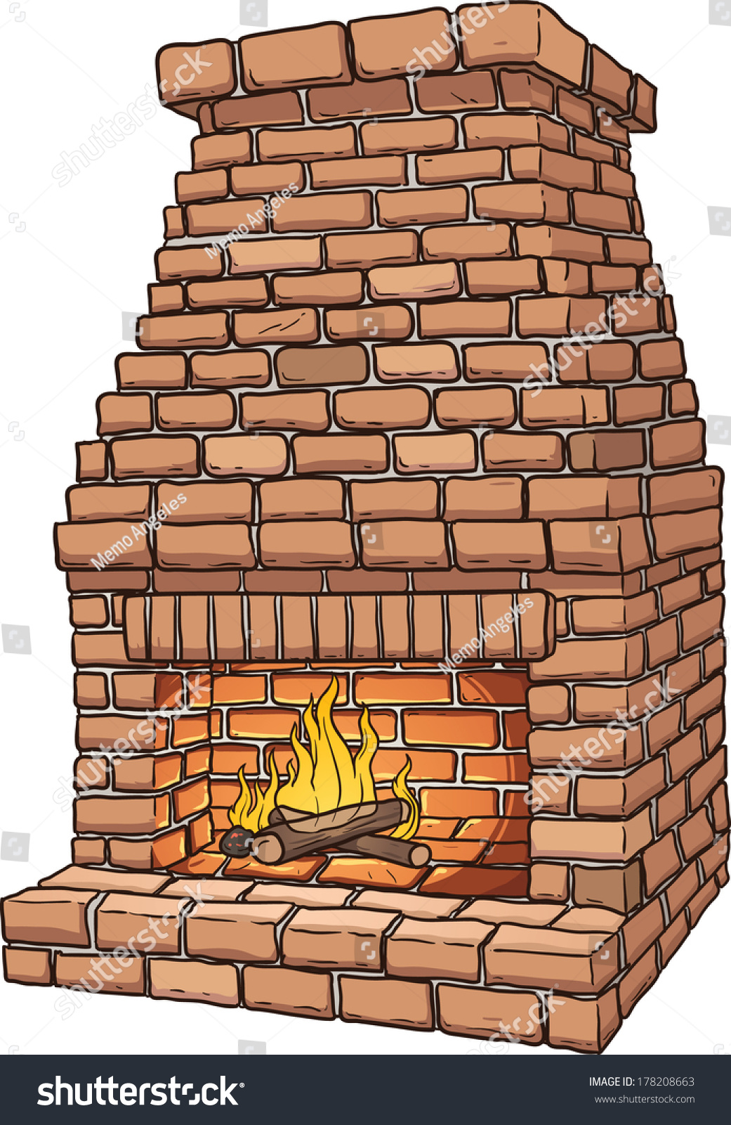 brick fireplace clipart. cartoon brick fireplace vector clip art illustration with simple gradients all in a single clipart