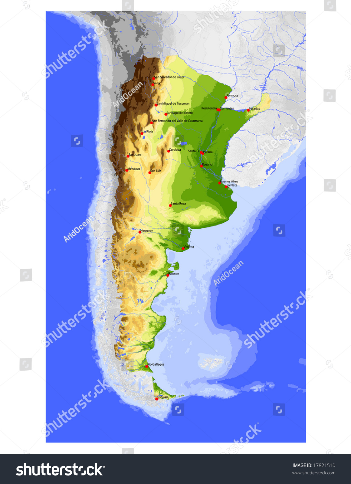 Argentina physical vector map colored according stock vector physical vector map colored according to elevation with rivers ocean depths gumiabroncs Image collections