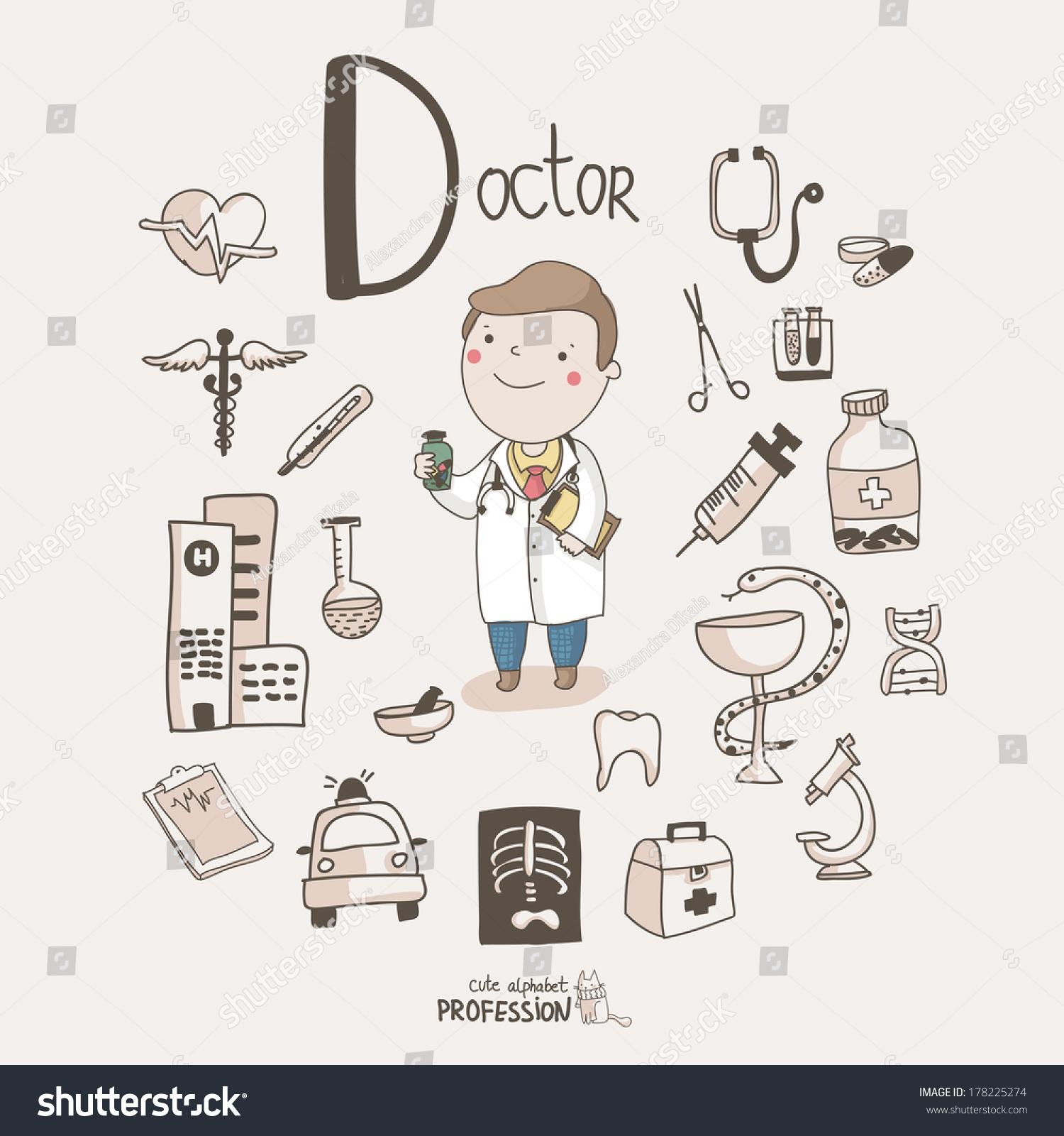 cute vector alphabet profession letter d stock vector 178225274 cute vector alphabet profession letter d doctor