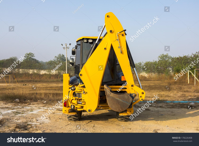 jcb machinery parking field utility machine stock photo 178226408