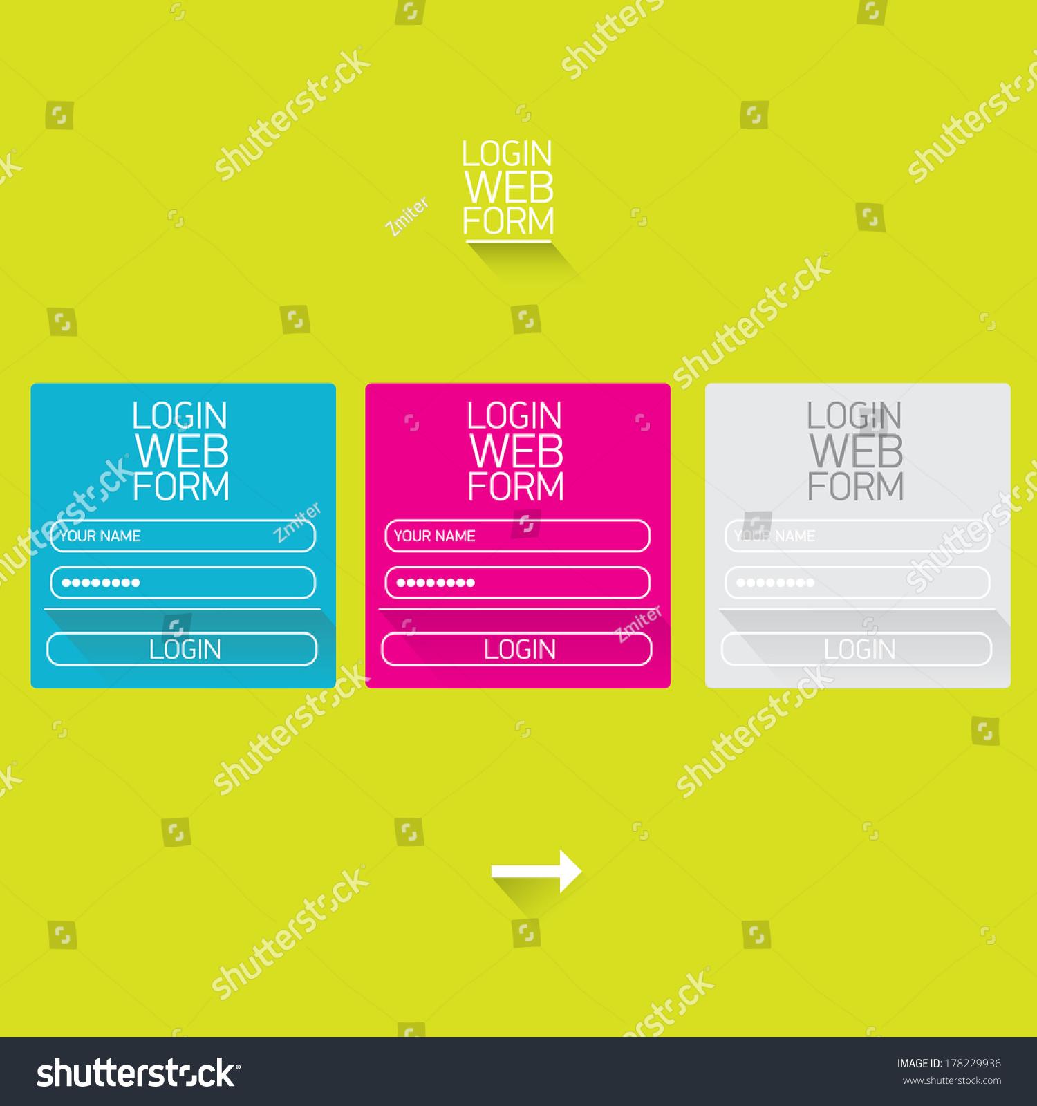 vector login website template flat design stock vector 178229936 shutterstock. Black Bedroom Furniture Sets. Home Design Ideas