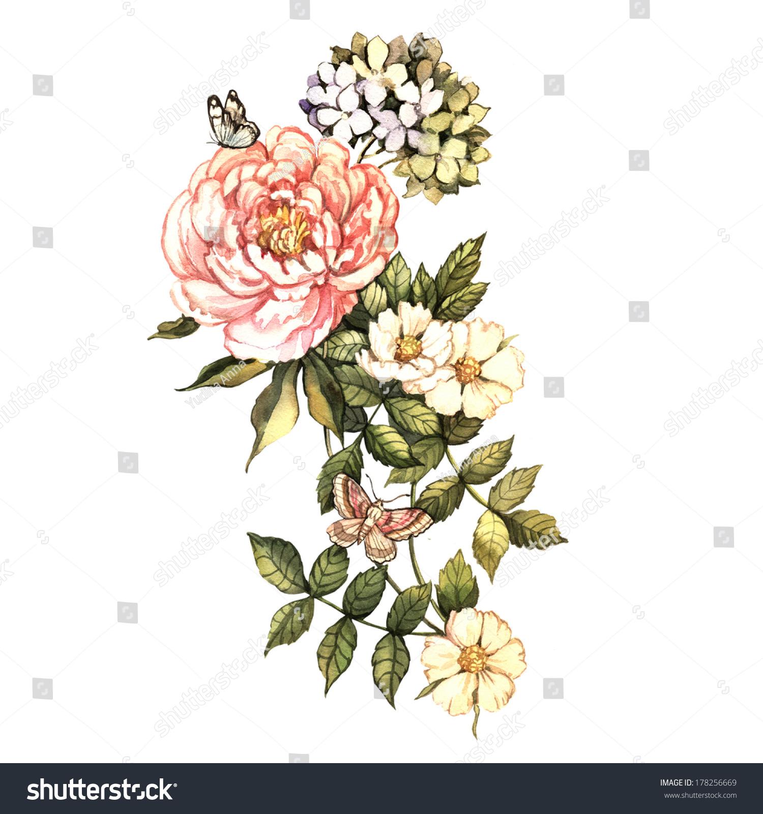 watercolor vintage floral motifs hand painting stock illustration 178256669 shutterstock. Black Bedroom Furniture Sets. Home Design Ideas