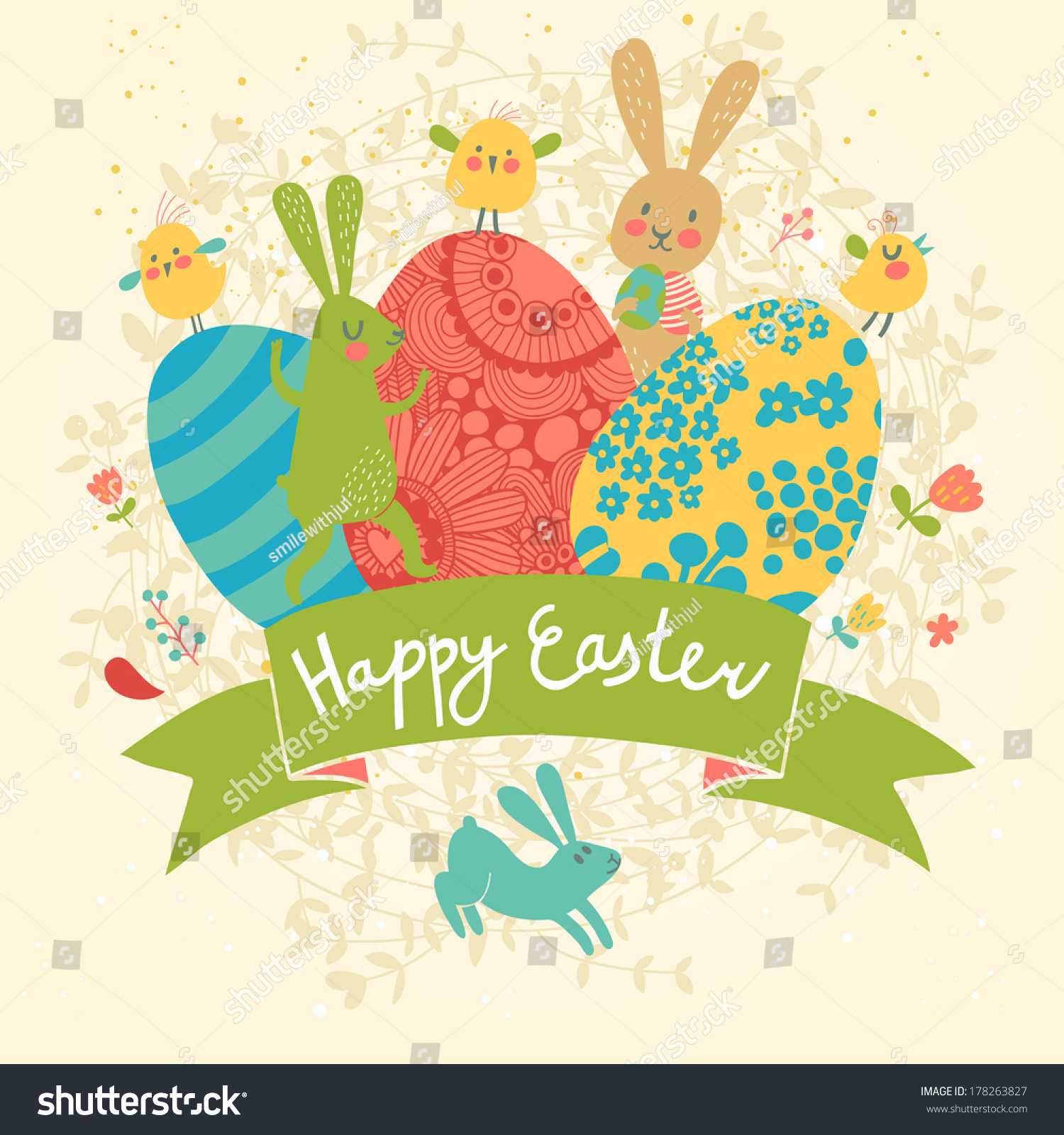 Funny Happy Easter Card Vector Cute Vector 178263827 – Happy Easter Card