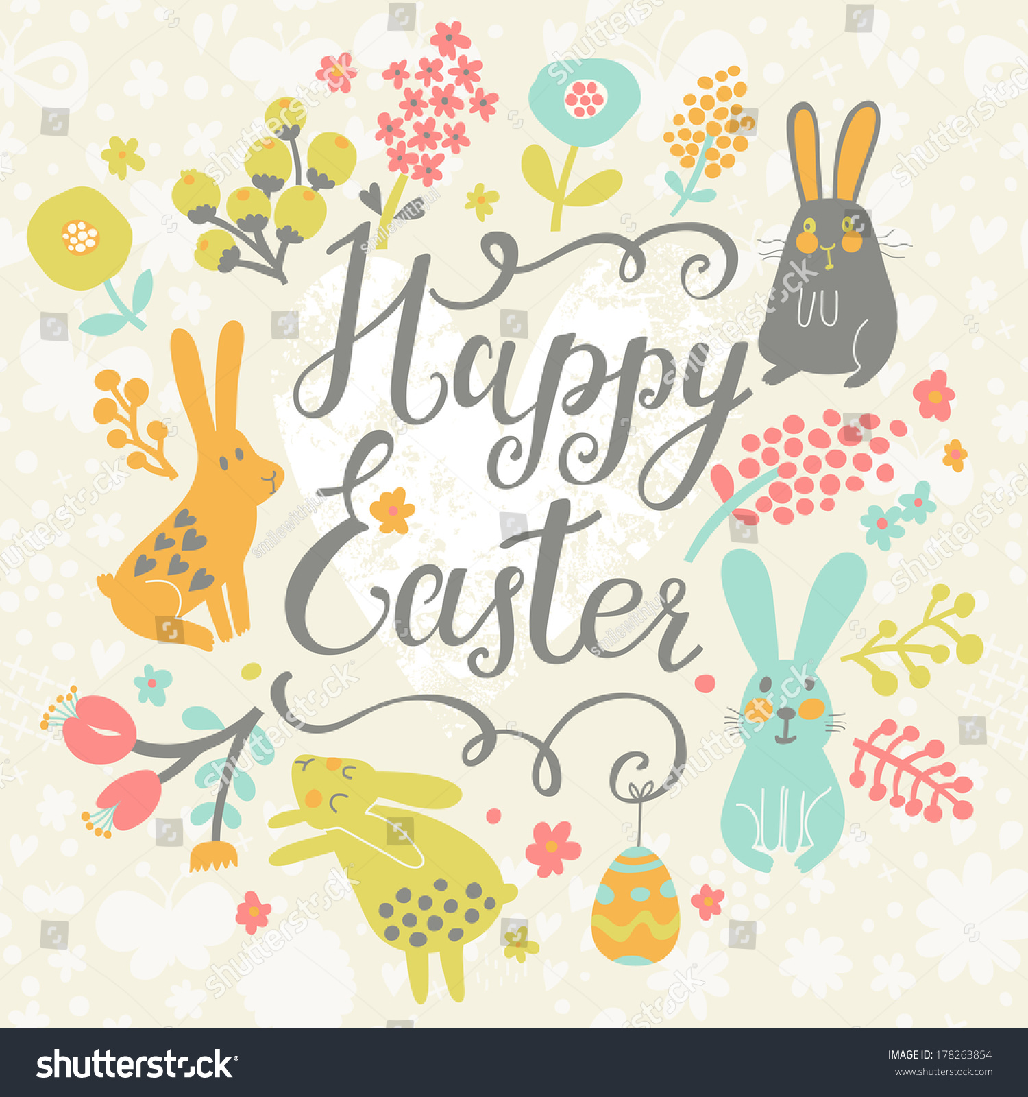 Bright Happy Easter Card Vector Funny Vector 178263854 – Happy Easter Card