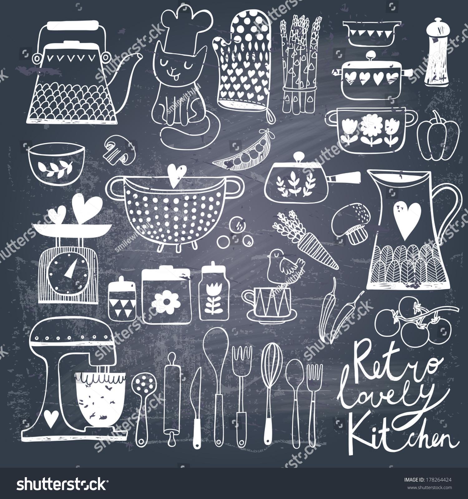 Vintage Kitchen Background ~ Vintage kitchen set in vector on chalkboard background
