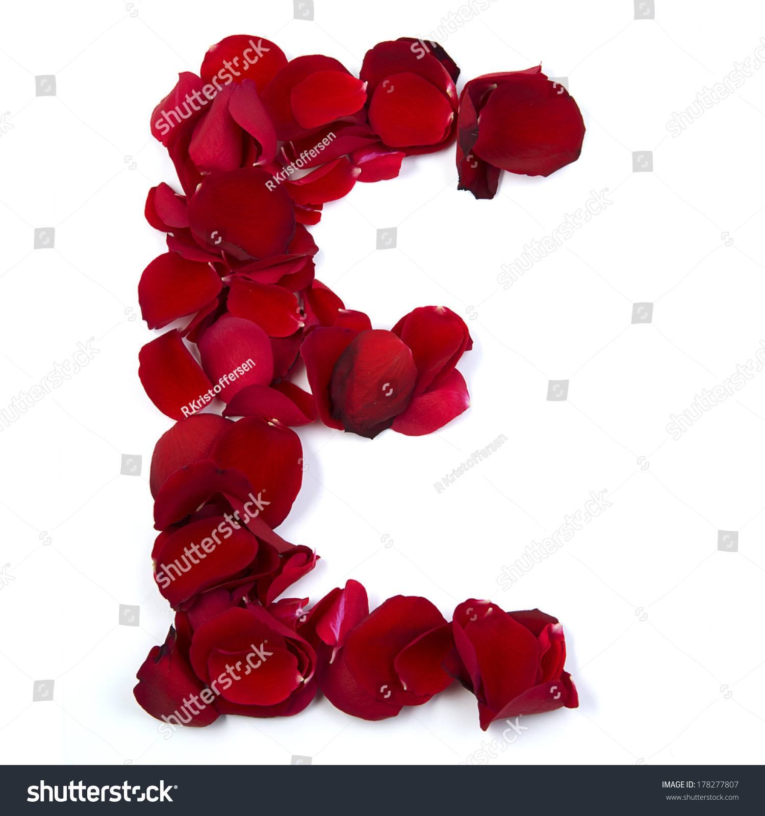 Letter E Ending Love Written Rose Stock Photo 178277807 ...
