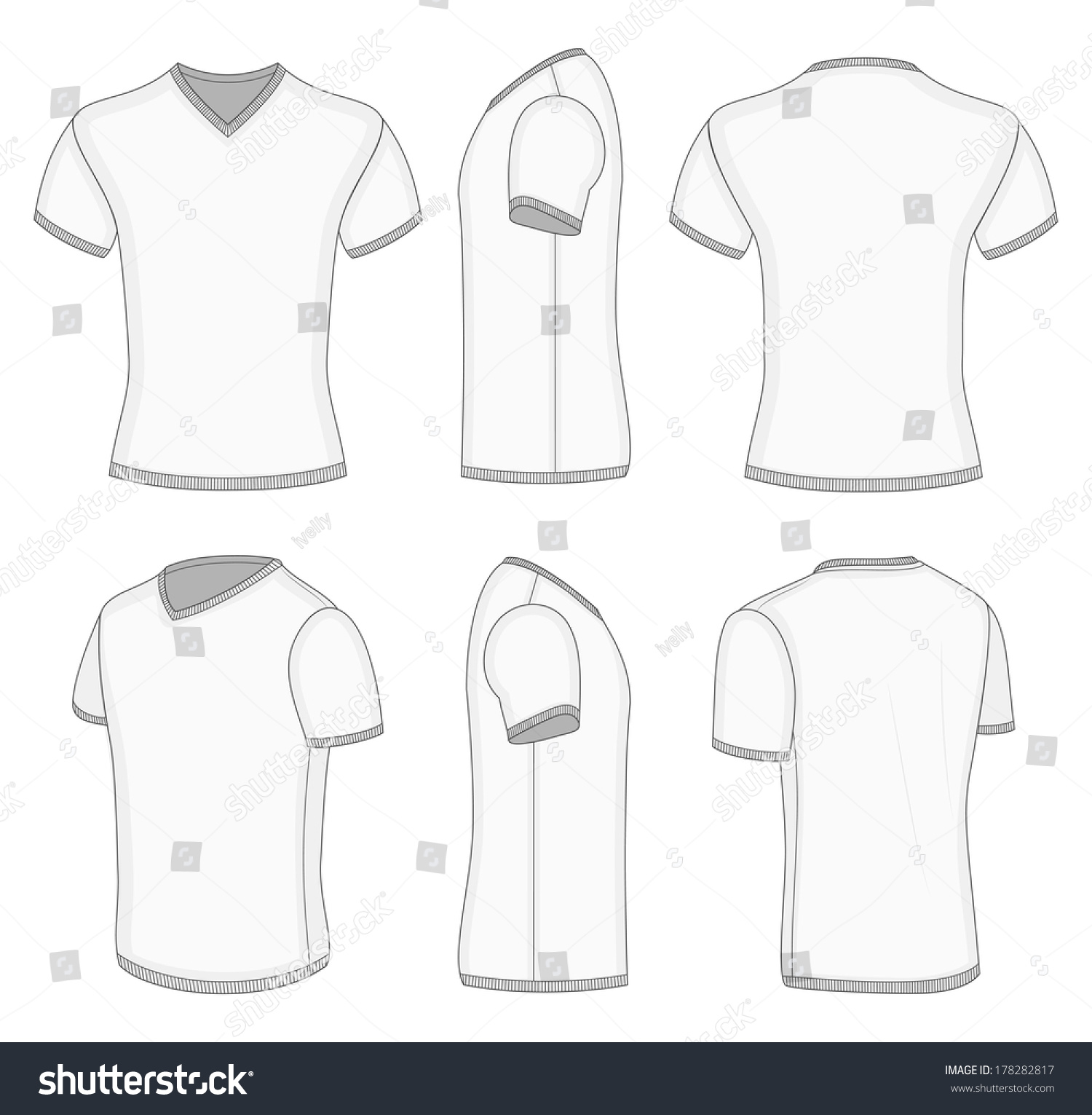 all views men 39 s white short sleeve t shirt v neck design templates vector illustration no mesh. Black Bedroom Furniture Sets. Home Design Ideas