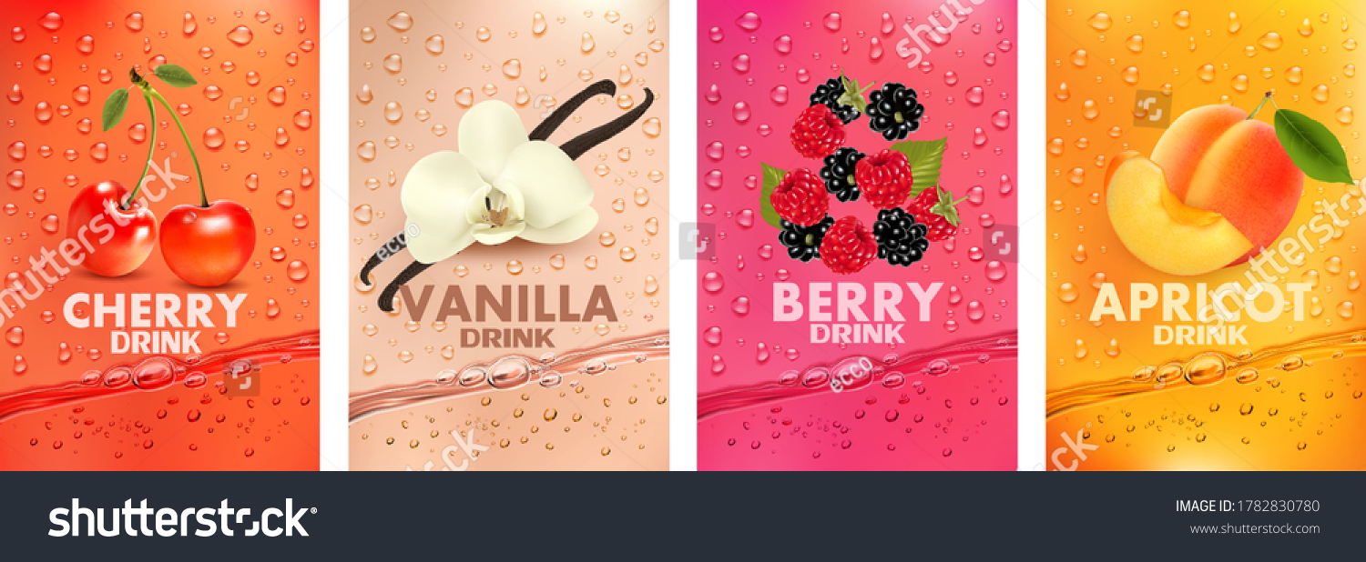 Set of labels with fruit and berry  drink. Fresh fruits juice splashing together- cherry, vanilla, raspberry, blackberry, apricot juice drink splashing. 3d fresh fruits. Vector illustration #1782830780