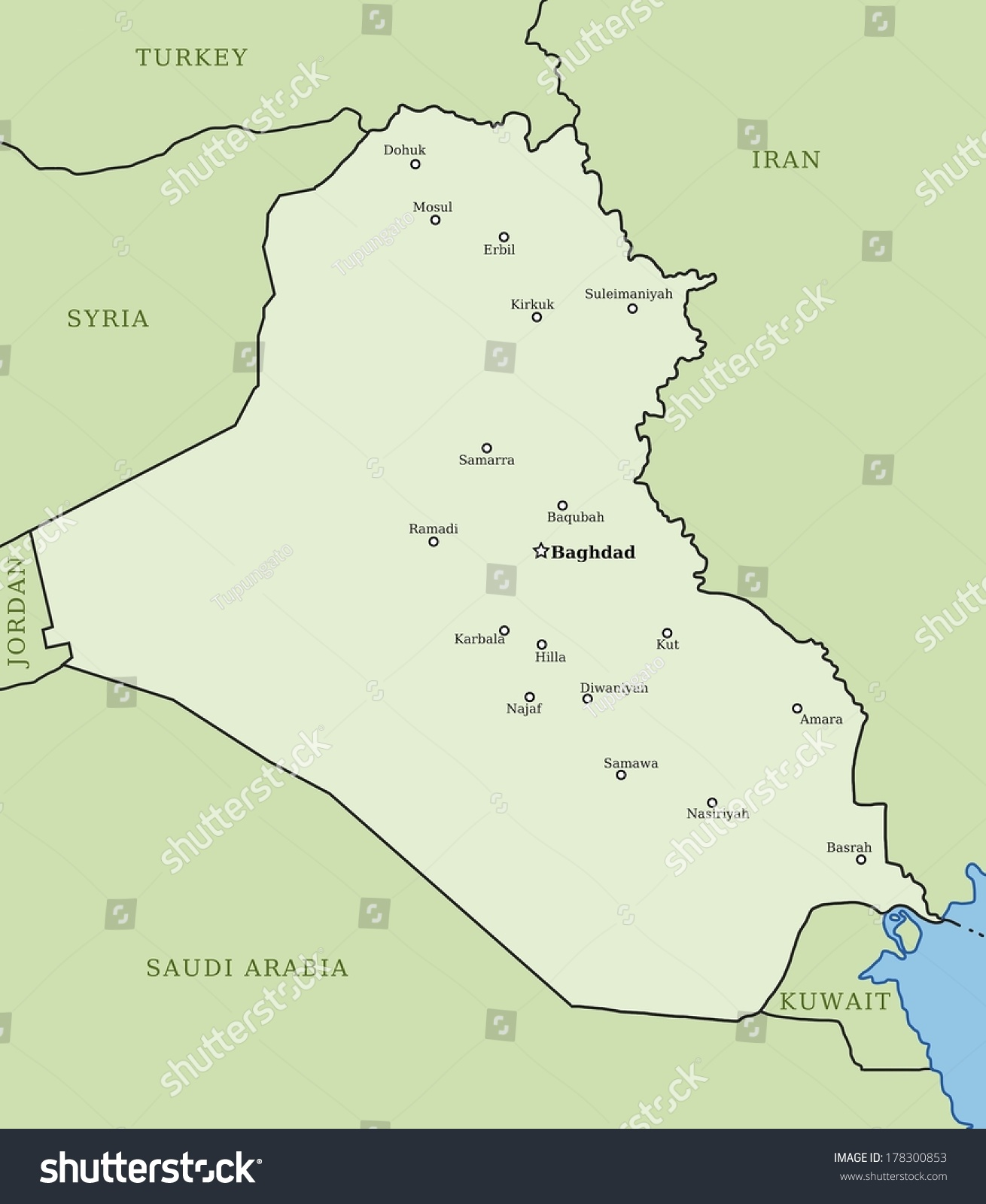 Iraq Map Major Cities Baghdad Mosul Stock Illustration 178300853