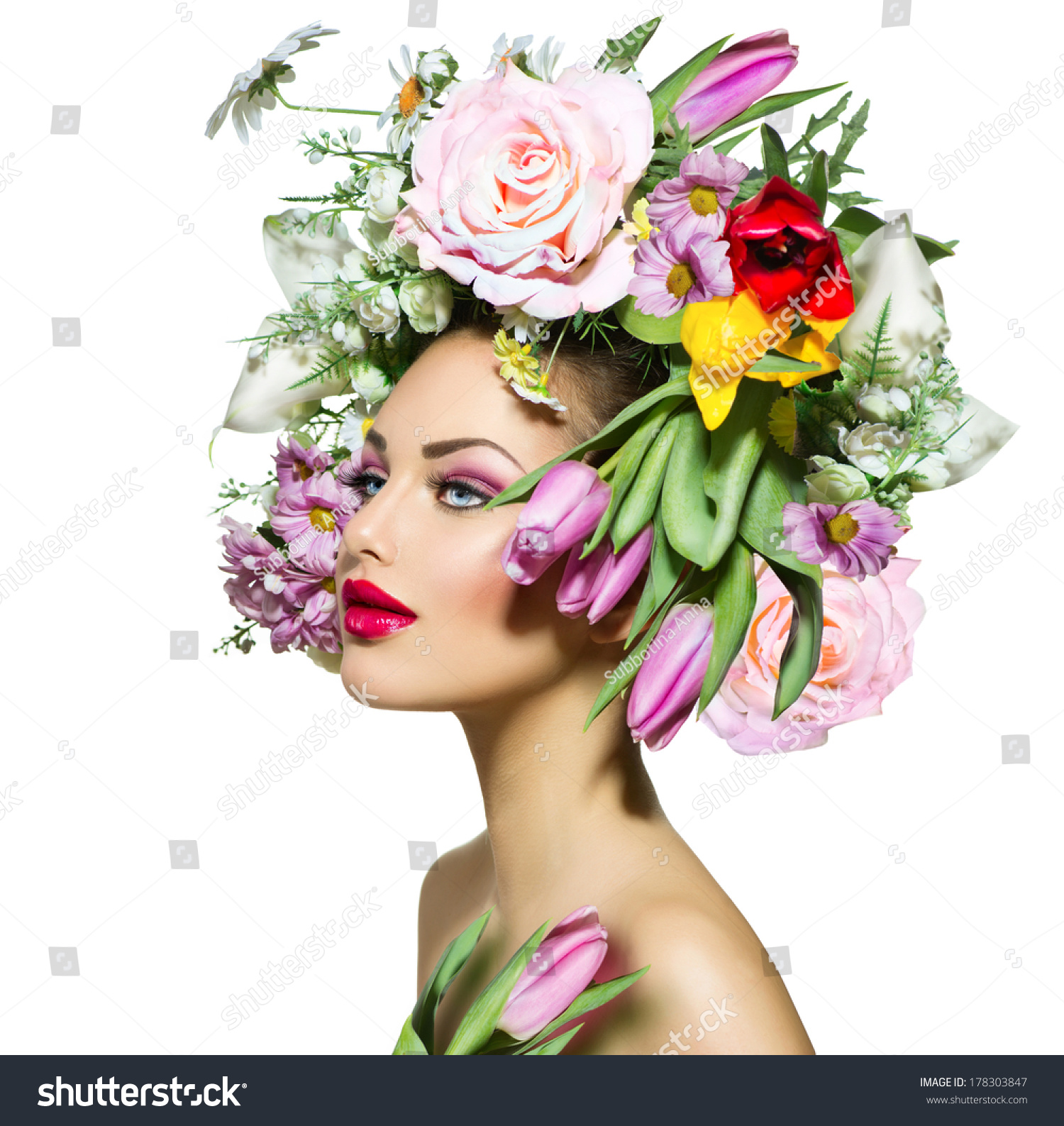 Beauty spring girl flowers hair style stock photo 178303847 beauty spring girl with flowers hair style beautiful model woman with blooming flowers on her dhlflorist Gallery