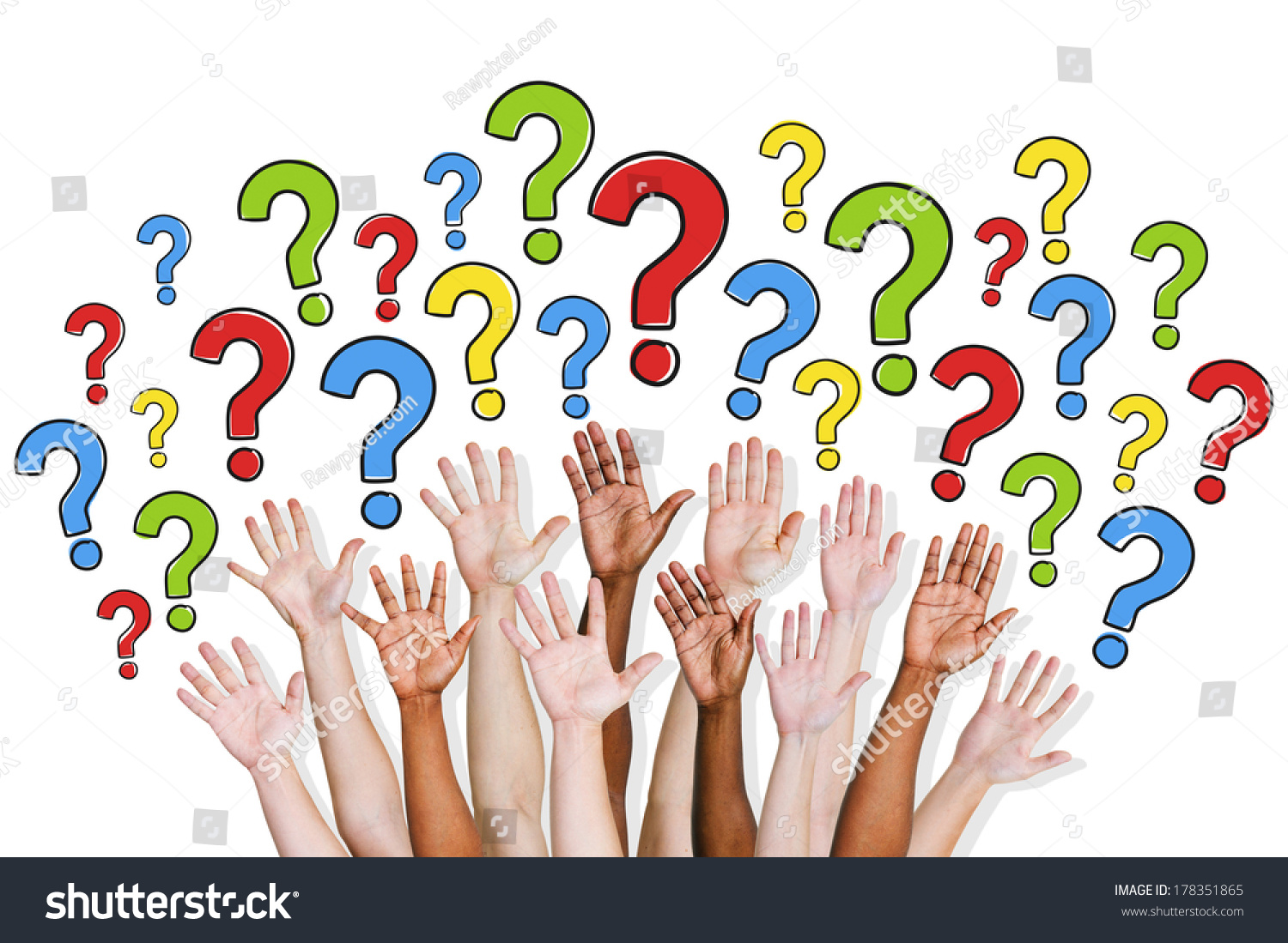 Pics photos clip art cartoon scientist with question mark stock - Diversity Of Hands Raised And Question Marks