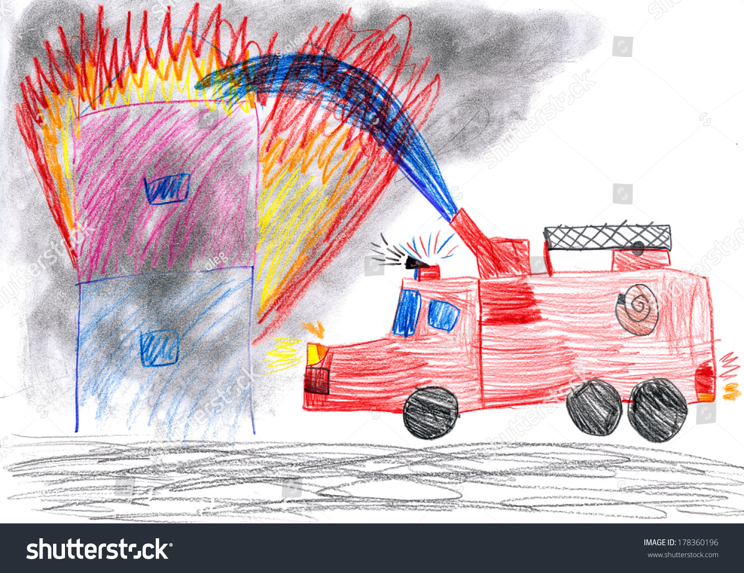This is a picture of Monster Burning House Drawing