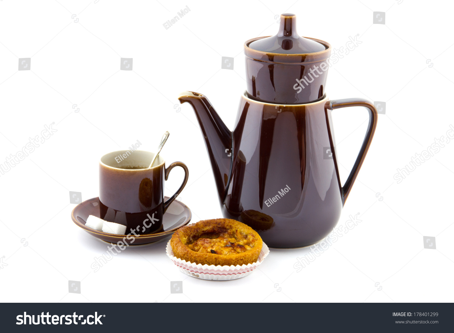 Apple Coffee Maker ~ Brown coffee pot cup saucer apple stock photo