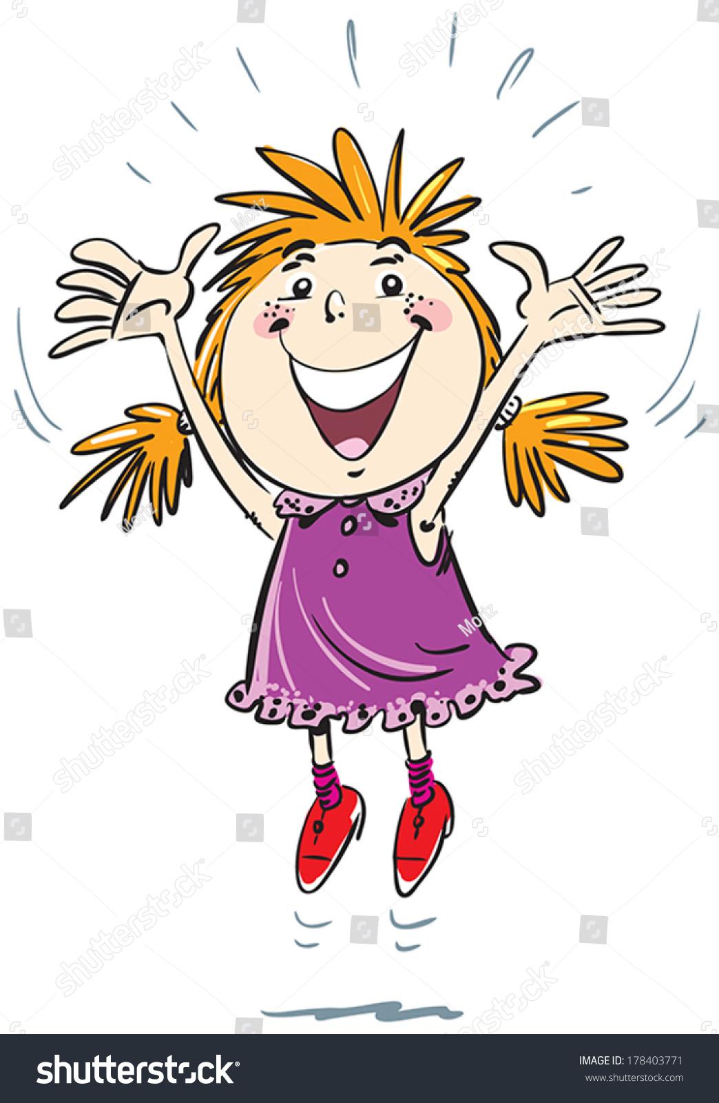young girl jumping joy stock vector 178403771 shutterstock