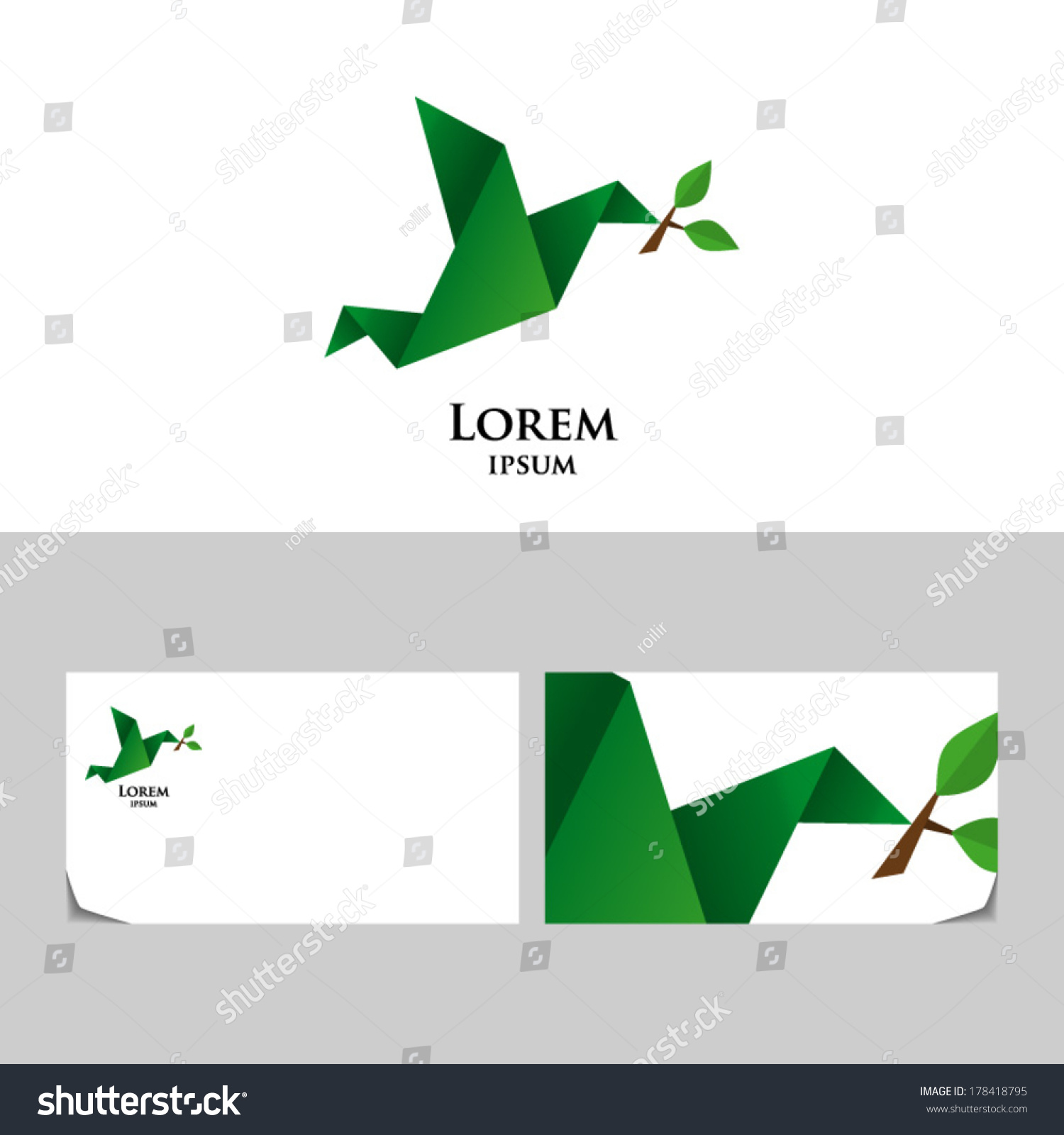 Eco emblem bird twig tree origami stock vector 178418795 eco emblem with bird and twig tree in origami styleicon design element with business jeuxipadfo Gallery