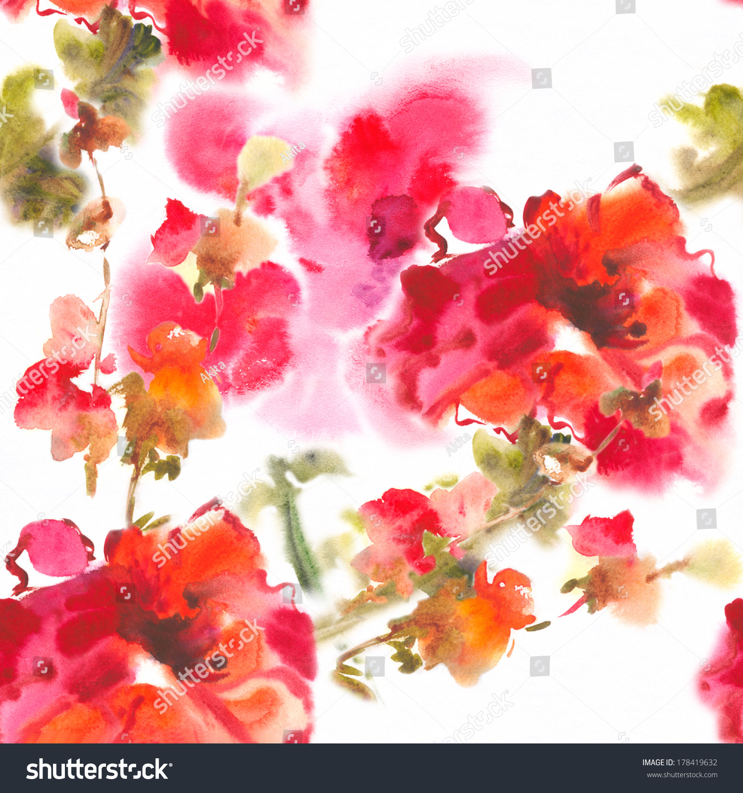 Color Illustration Flowers Watercolor Paintings Album Stock ...