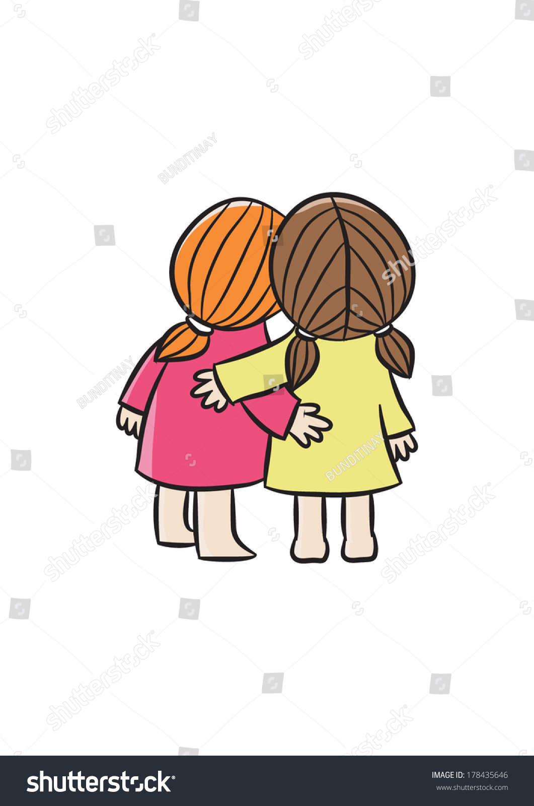 Two Best Friends Stock Vector 178435646 Shutterstock