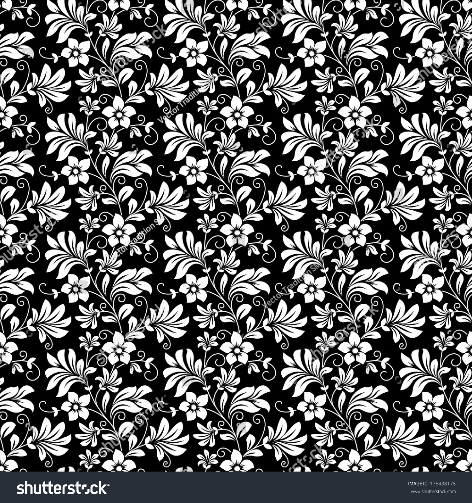 Beautiful Intricate Retro Seamless Floral Pattern Stock Vector