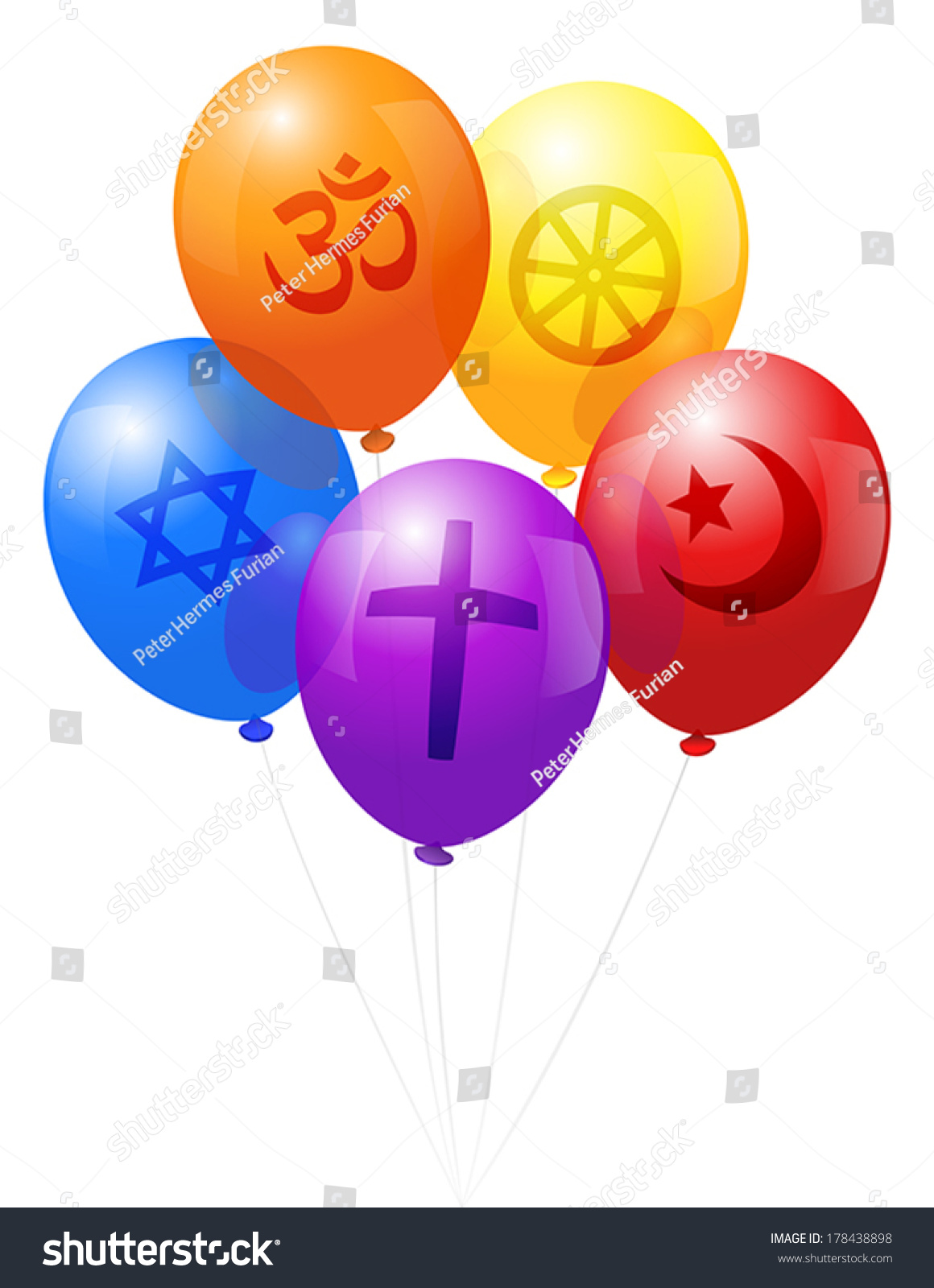 Five Balloons Which Labeled Symbols Five Stock Vector Royalty Free