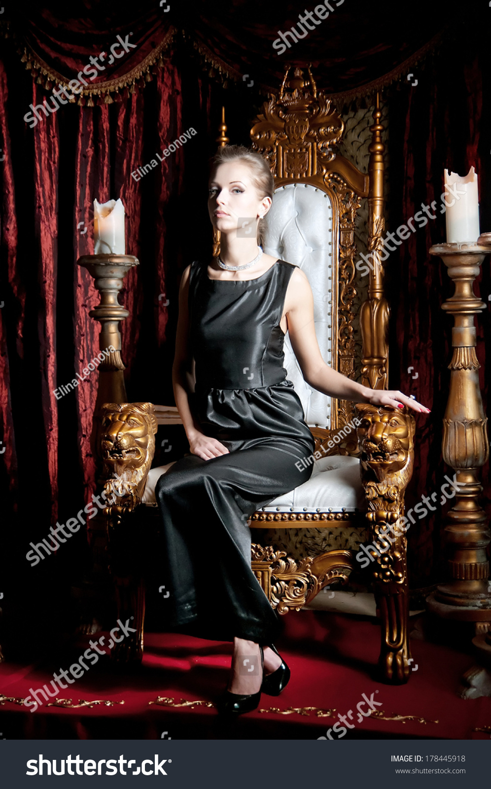 Woman Sitting On Throne Stock Photo 178445918 Shutterstock