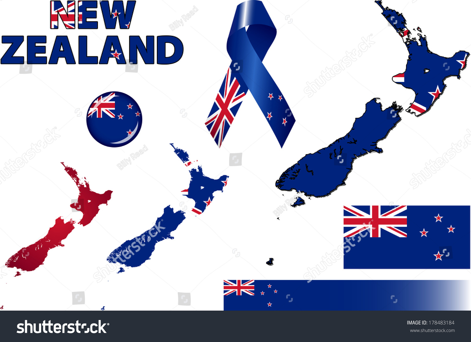 New Zealand Icons Set Vector Graphic Stock Vector 2018 178483184