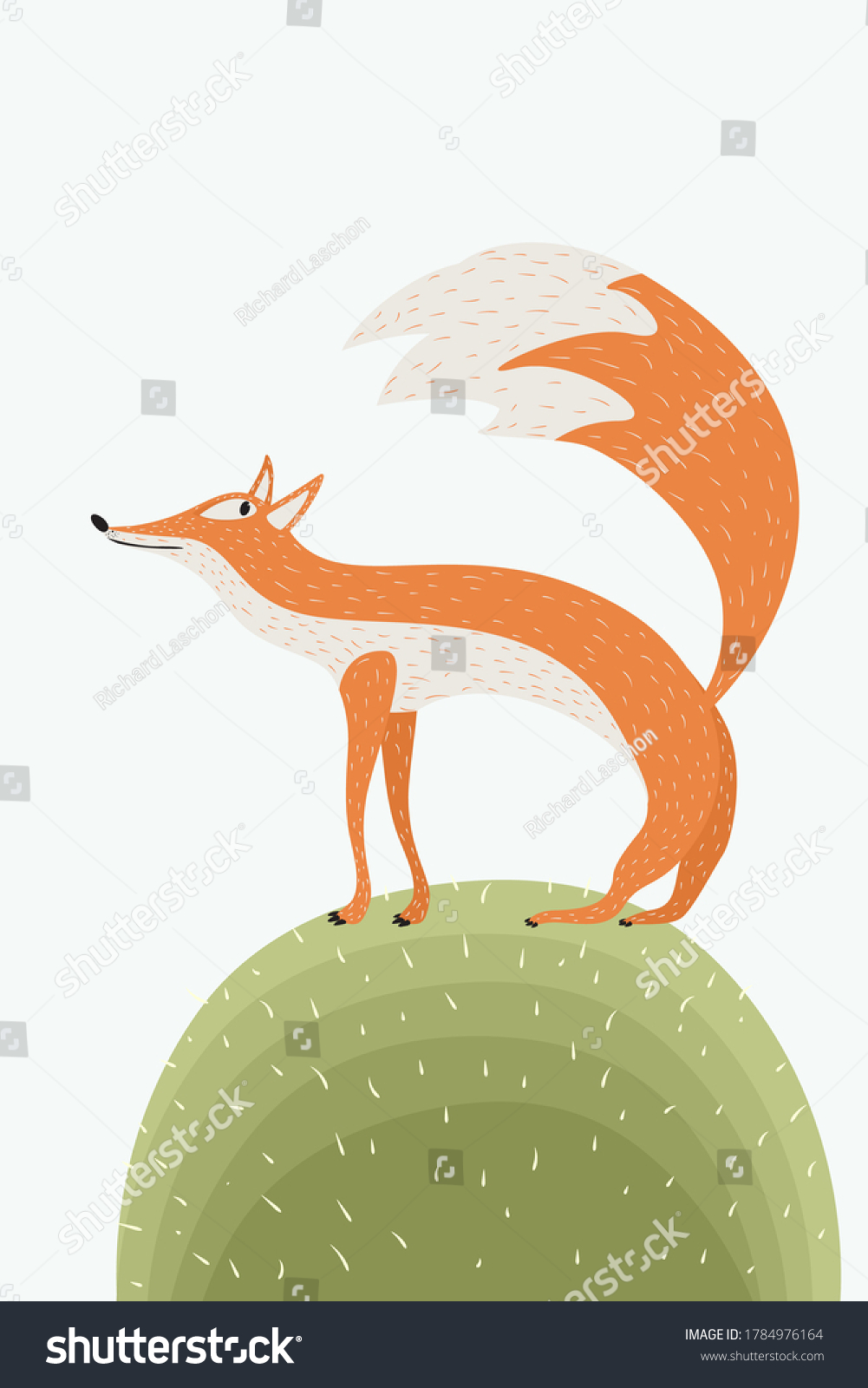 Cute fox on the green, vector illustration