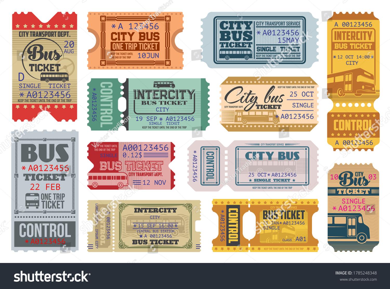 Bus Tickets Retro Coupons City Public Stock Vector Royalty Free 1785248348
