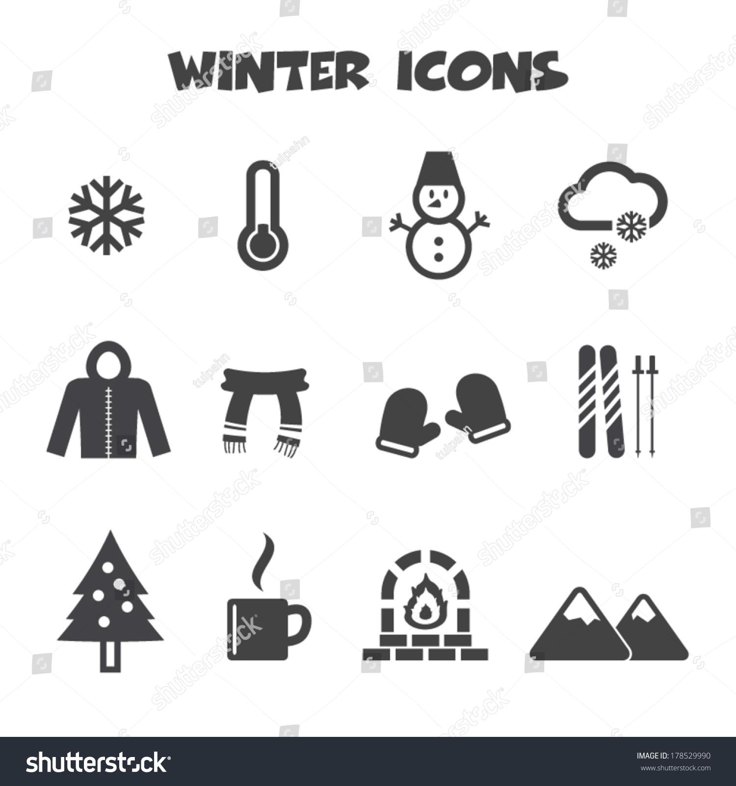 Winter Icons Mono Vector Symbols Stock Vector Royalty Free