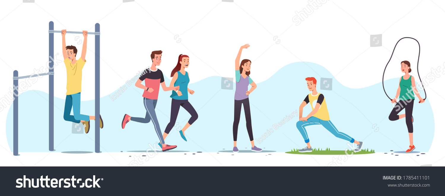 Men & women athletes doing exercises & working out outdoors set. People training,  street workout equipment, jogging, stretching body, skipping rope. Sport, fitness & running. Flat vector illustration #1785411101